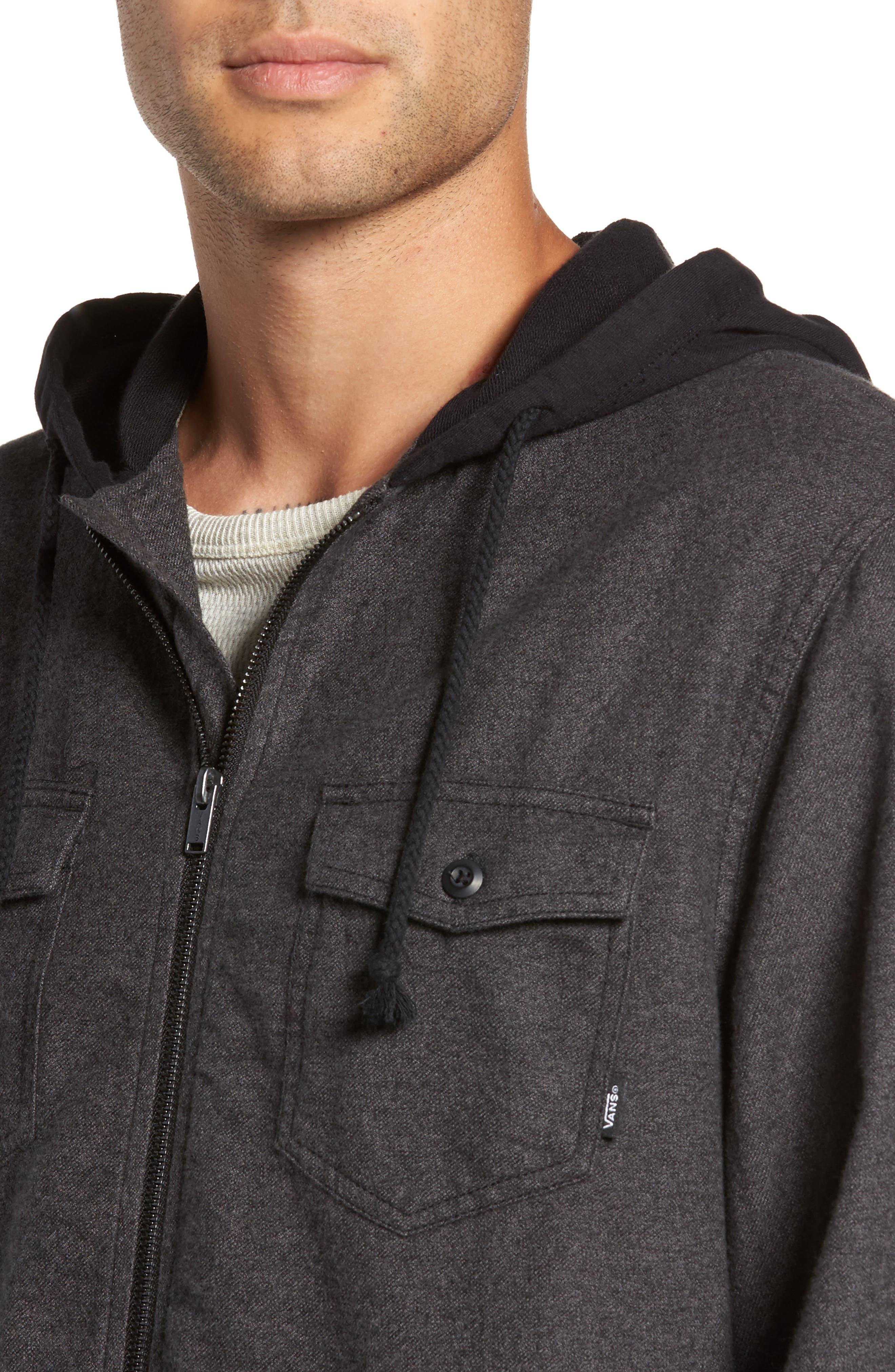 Never Mind Hooded Zip Shirt Jacket,                             Alternate thumbnail 4, color,                             001