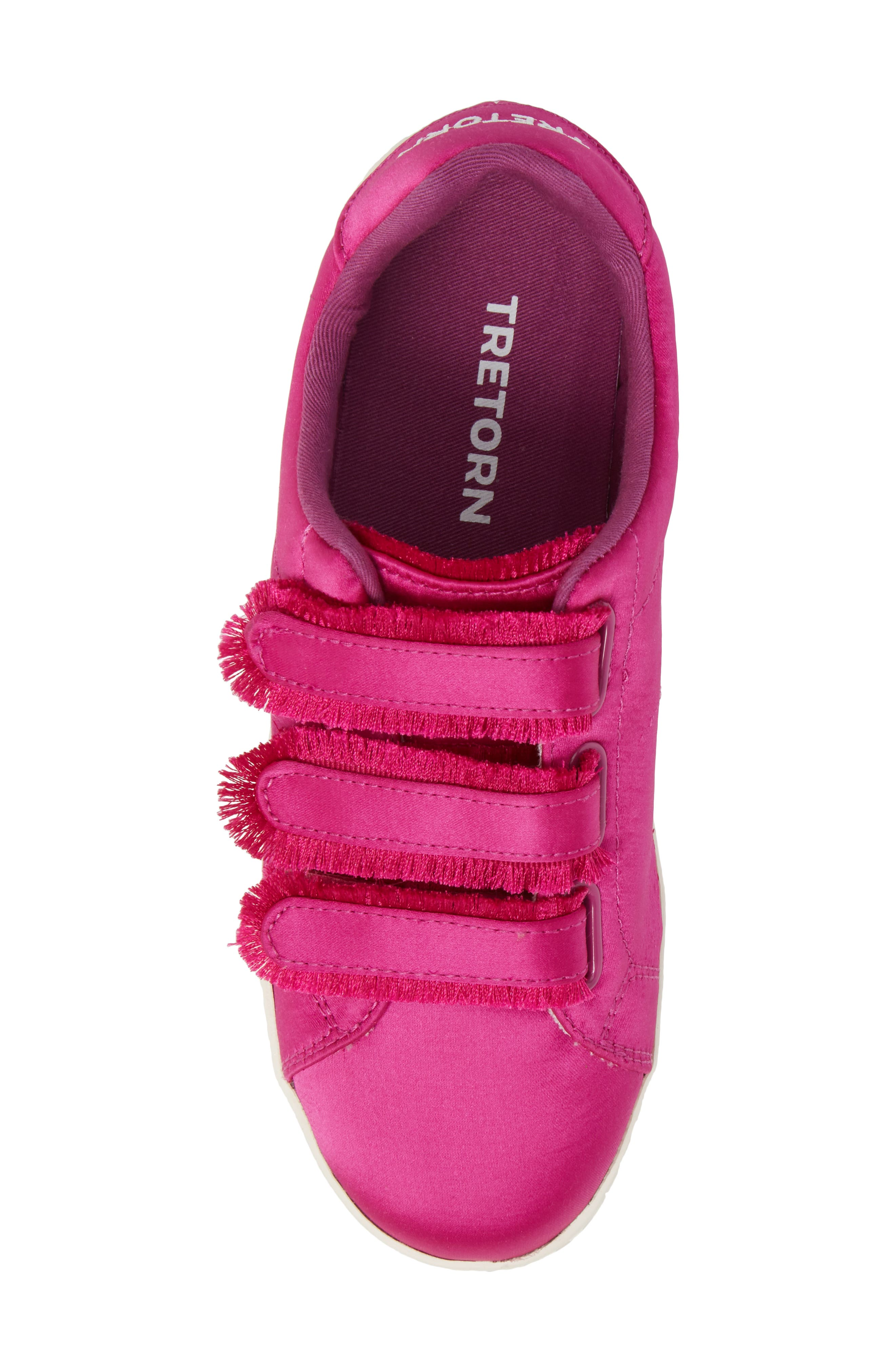 Fringed Strap Sneaker,                             Alternate thumbnail 5, color,                             FUCHSIA SATIN