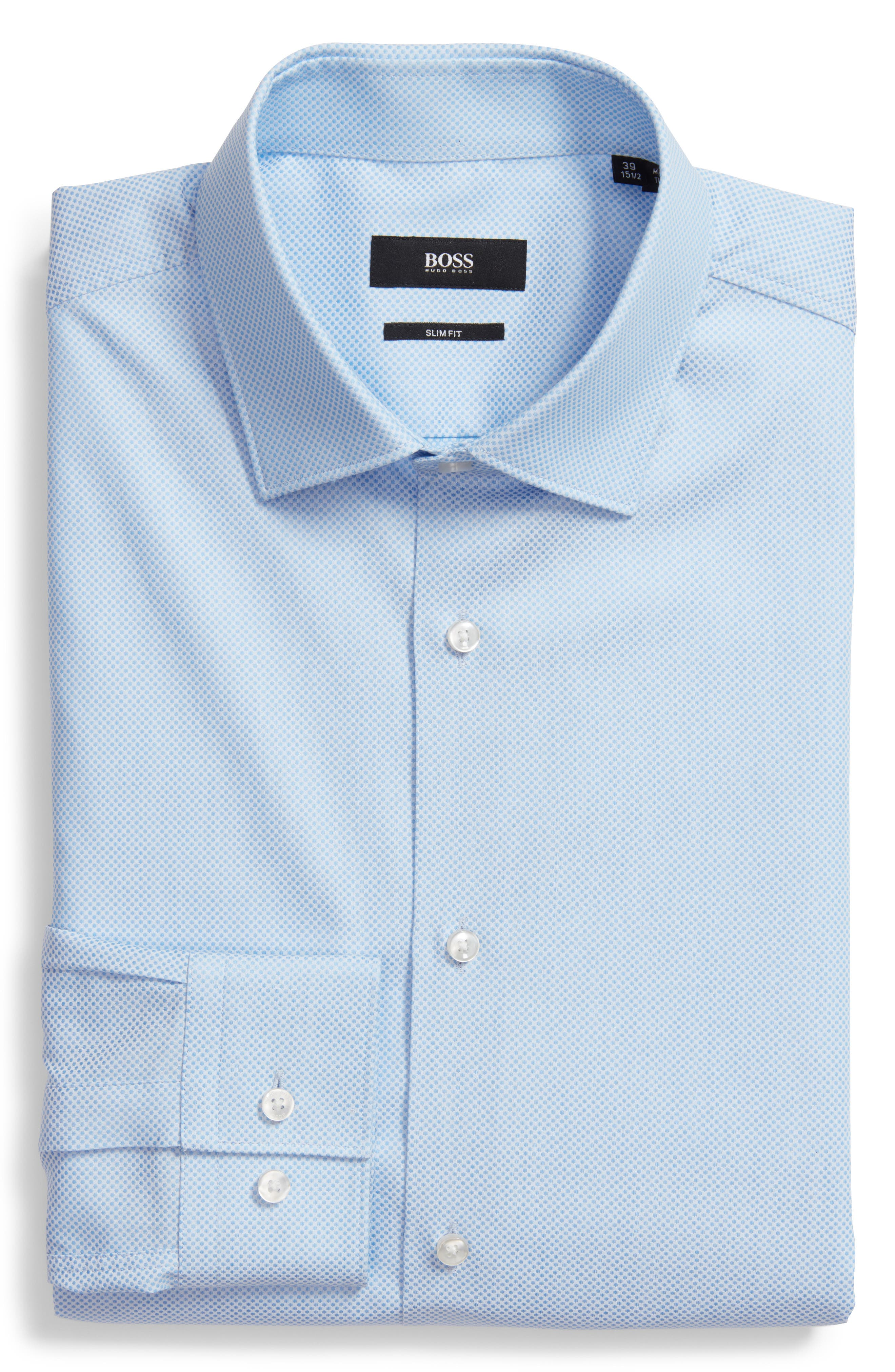 Ismo Slim Fit Dot Dress Shirt,                             Alternate thumbnail 5, color,                             450