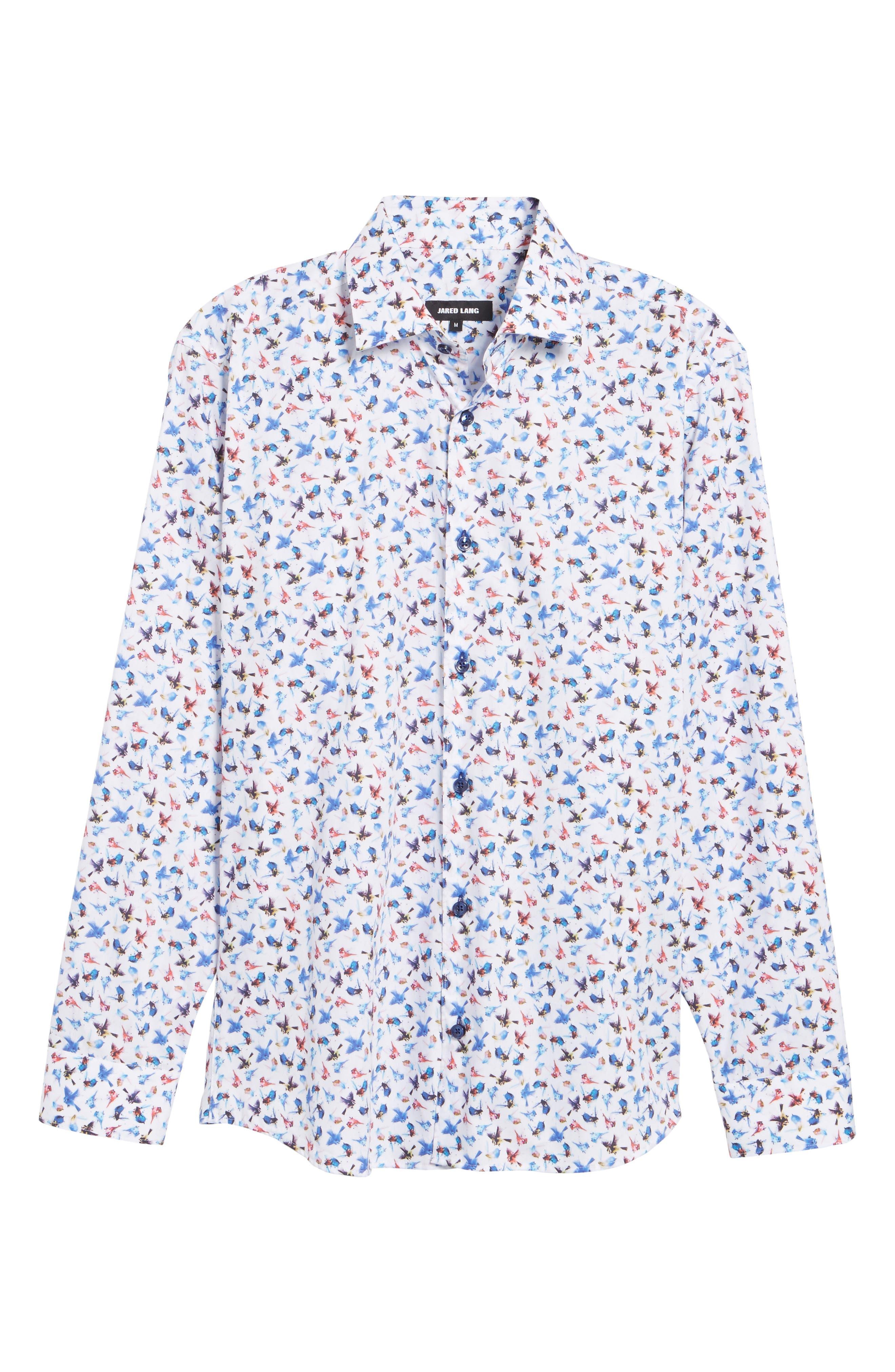Slim Fit Bird Print Sport Shirt,                             Alternate thumbnail 6, color,                             963
