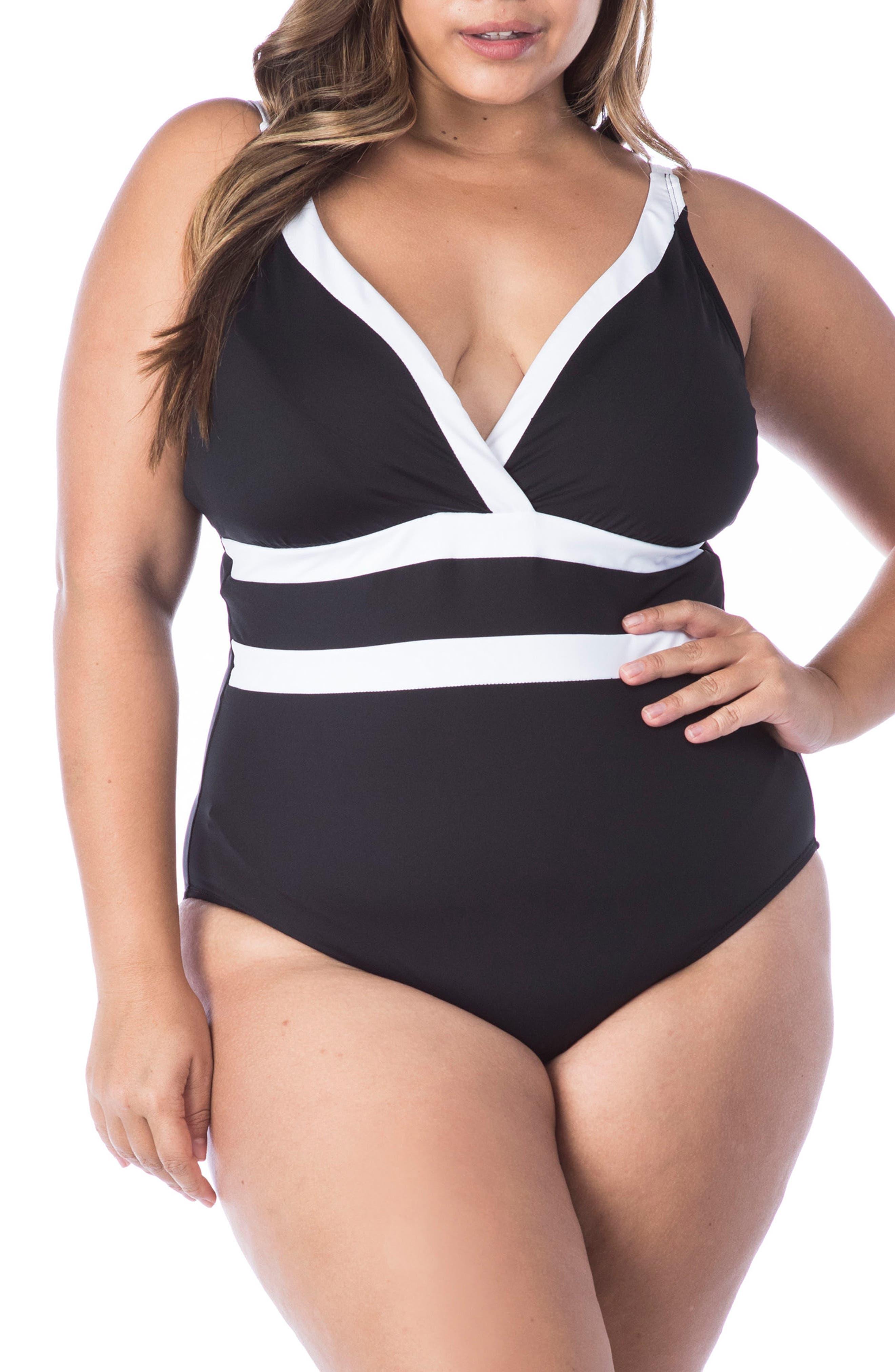 Vintage Bathing Suits | Retro Swimwear | Vintage Swimsuits Plus Size Womens La Blanca Modern One-Piece Swimsuit Size 20W - Black $79.80 AT vintagedancer.com