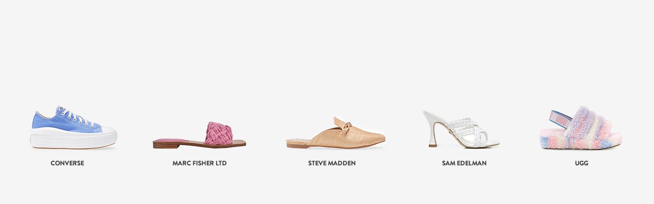 Women's shoes from Converse, Marc Fisher LTD, Steve Madden, Sam Edelman and UGG.