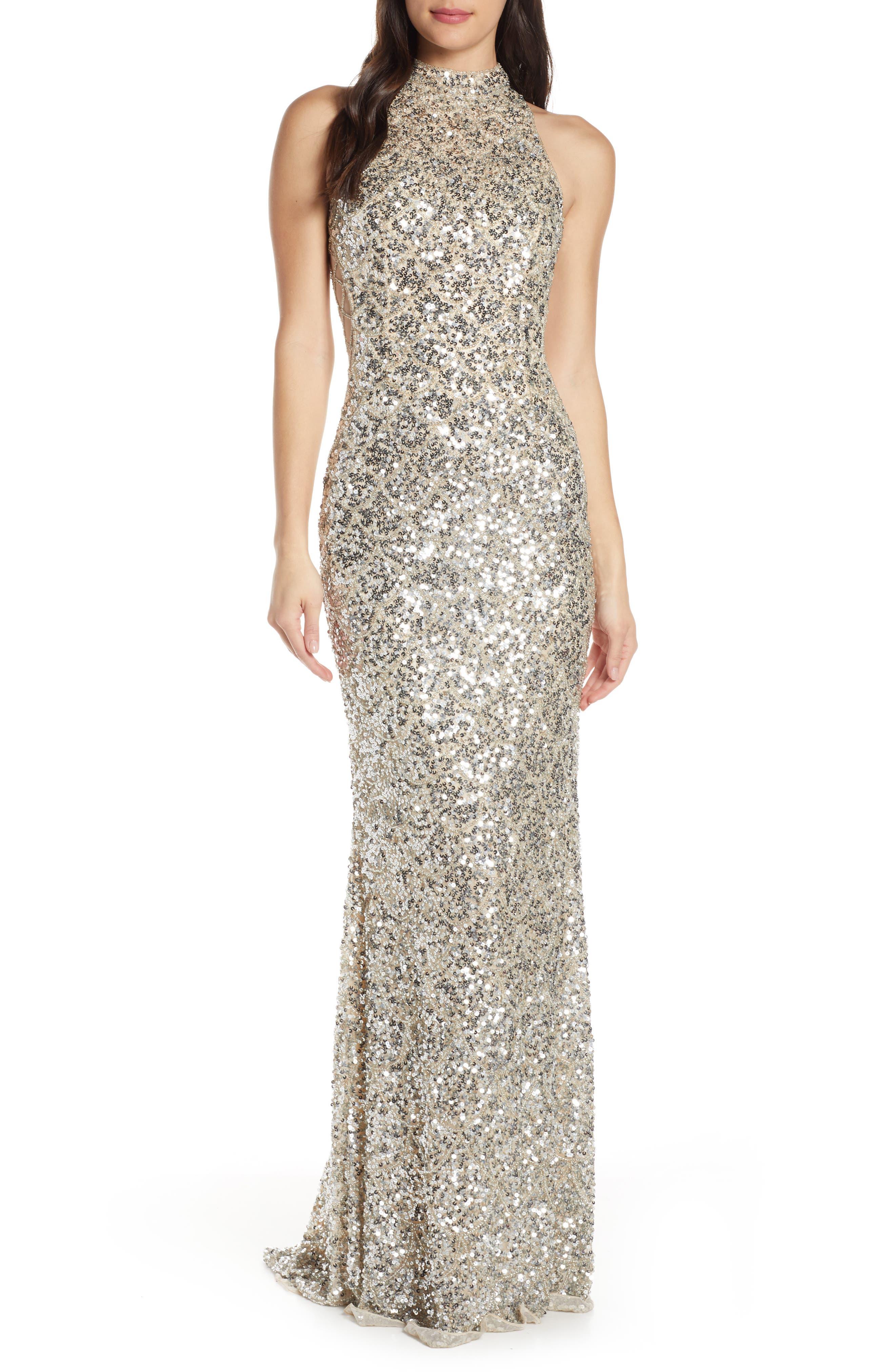 MAC Duggal Scallop Pattern Sequin Gown, Grey