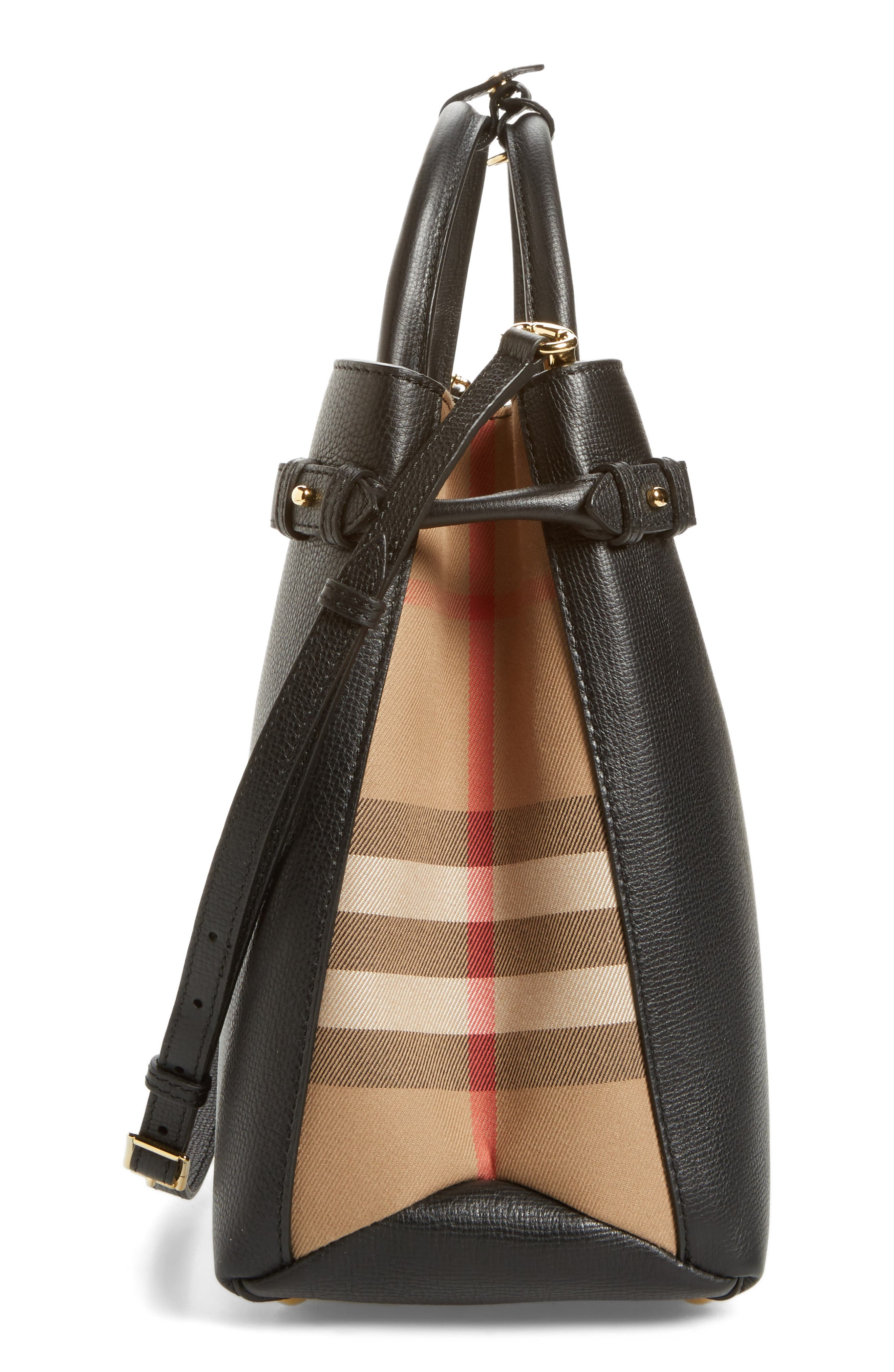 Large Banner - Derby House Check Calfskin Leather Tote,                             Alternate thumbnail 5, color,                             001