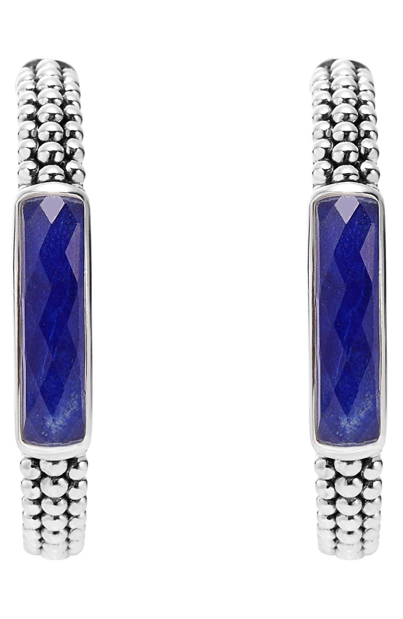 'Maya' Caviar Hoop Earrings,                             Alternate thumbnail 2, color,                             LAPIS