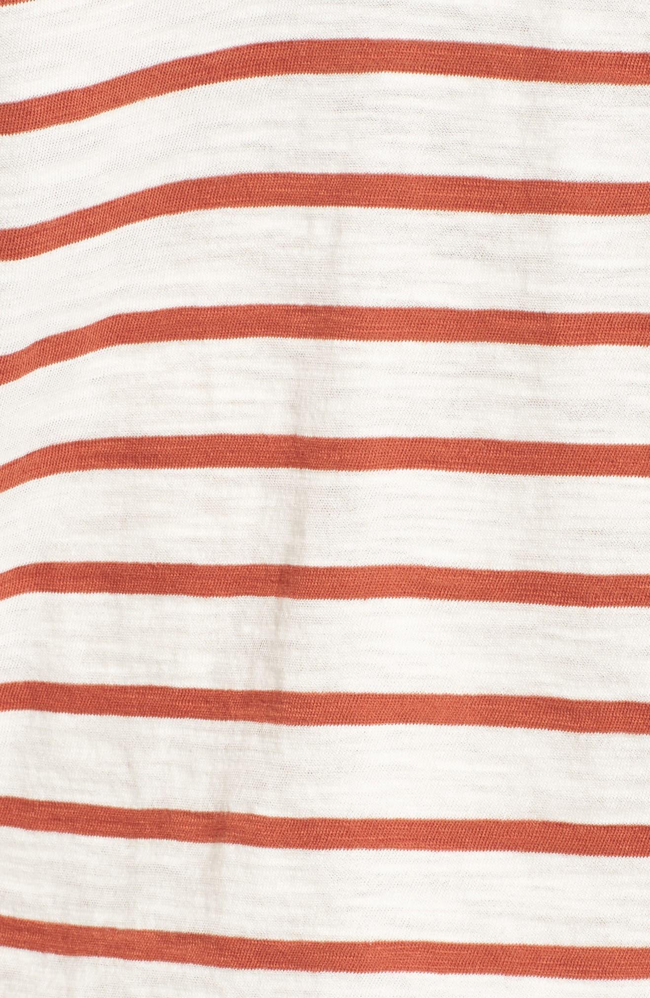 Whisper Cotton Stripe V-Neck Tee,                             Alternate thumbnail 5, color,                             100