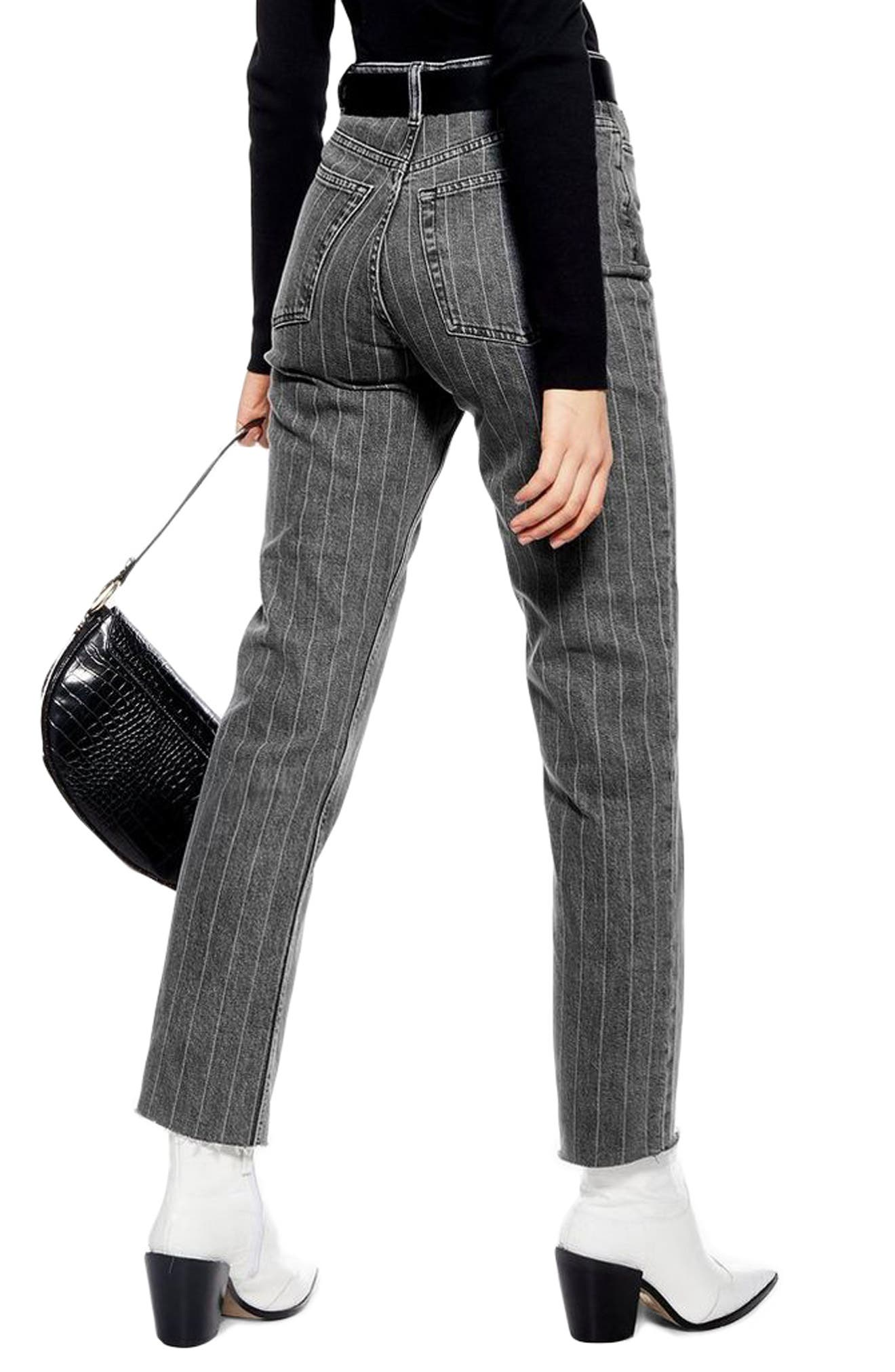 High Waist Pinstripe Jeans,                             Alternate thumbnail 2, color,                             WASHED BLACK