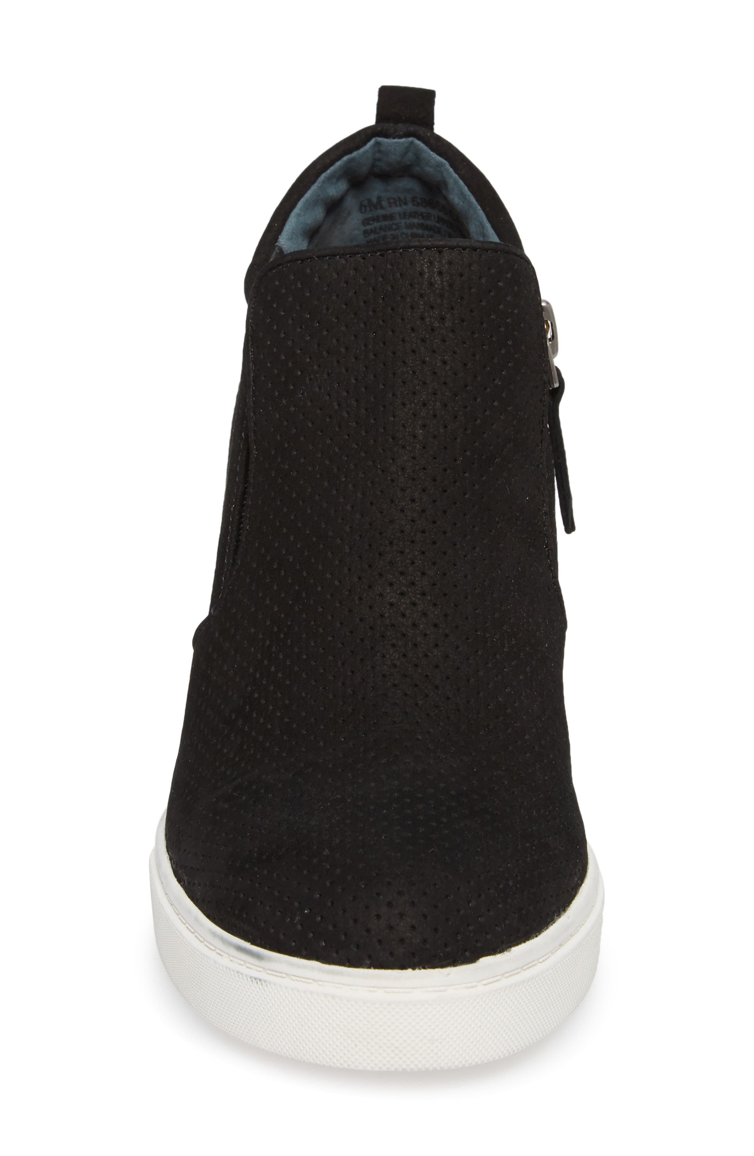 Aiden Wedge Sneaker,                             Alternate thumbnail 4, color,                             BLACK PERFORATED LEATHER
