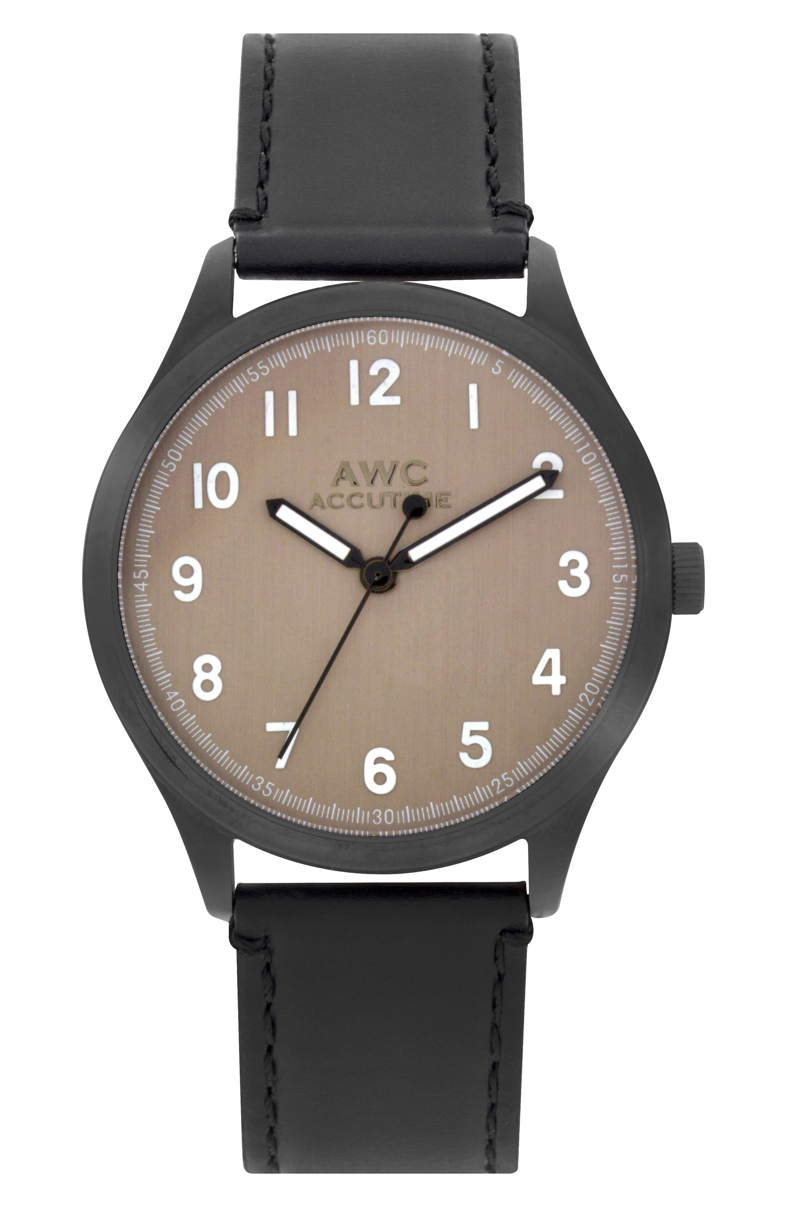Numerial Leather Strap Watch, 40mm,                         Main,                         color, 001