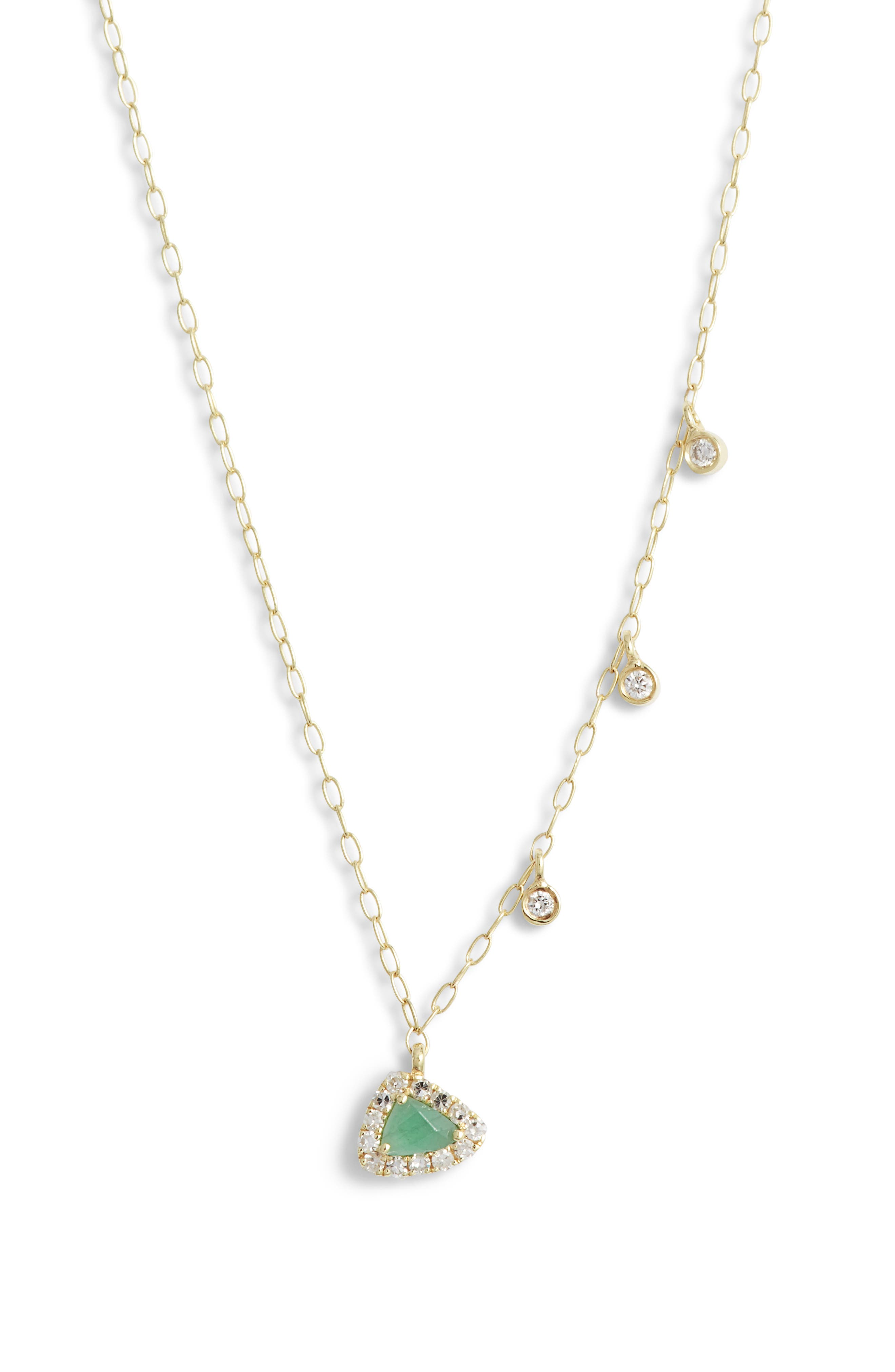 MEIRA T Diamond & Emerald Pendant Necklace in Green