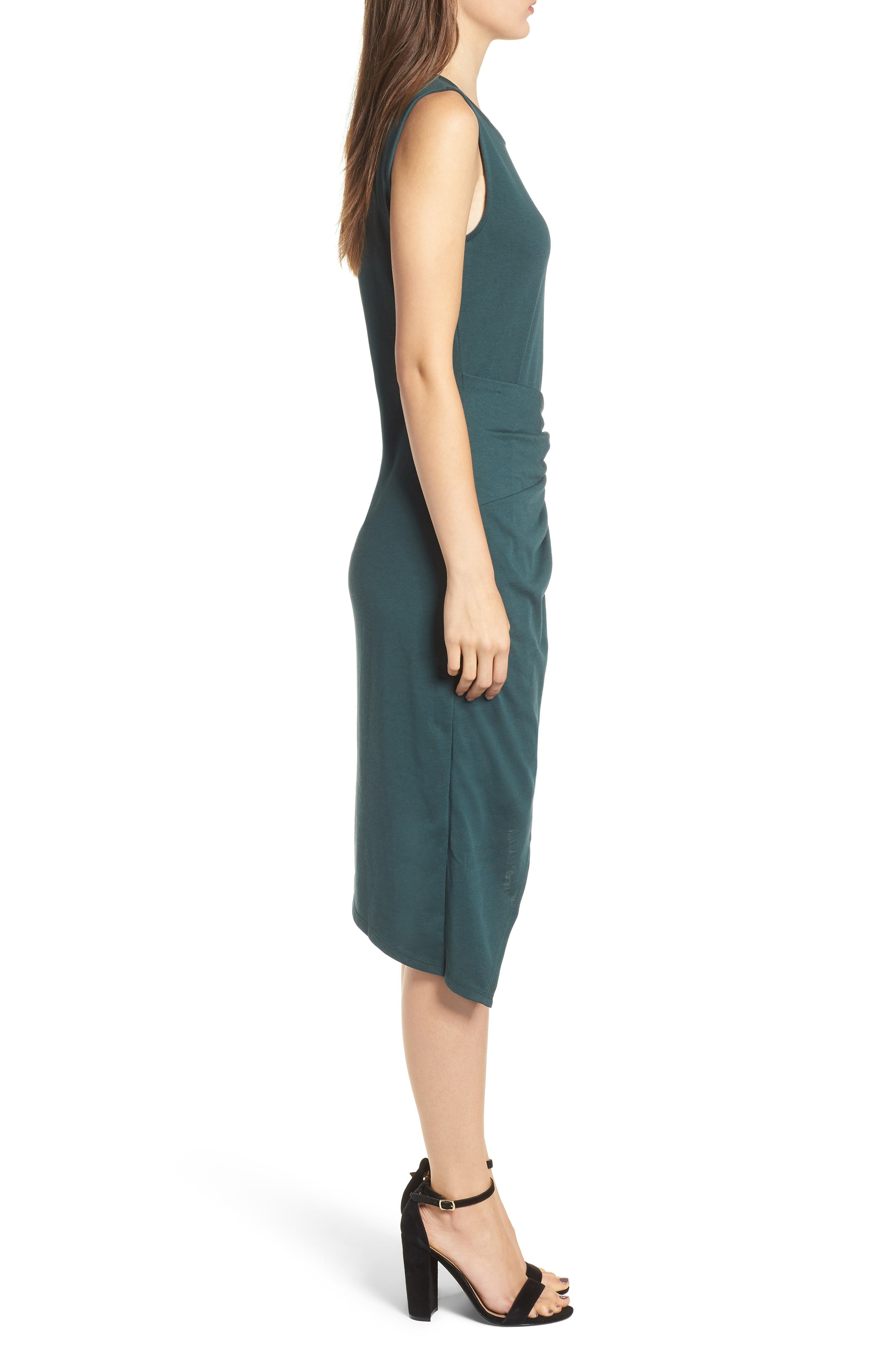 Twist Front Dress,                             Alternate thumbnail 3, color,                             GREEN GABLES