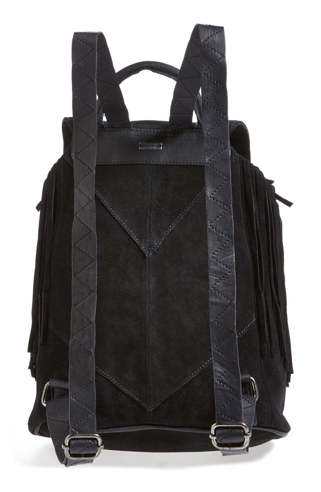 Fringed Suede Backpack,                             Alternate thumbnail 3, color,                             001