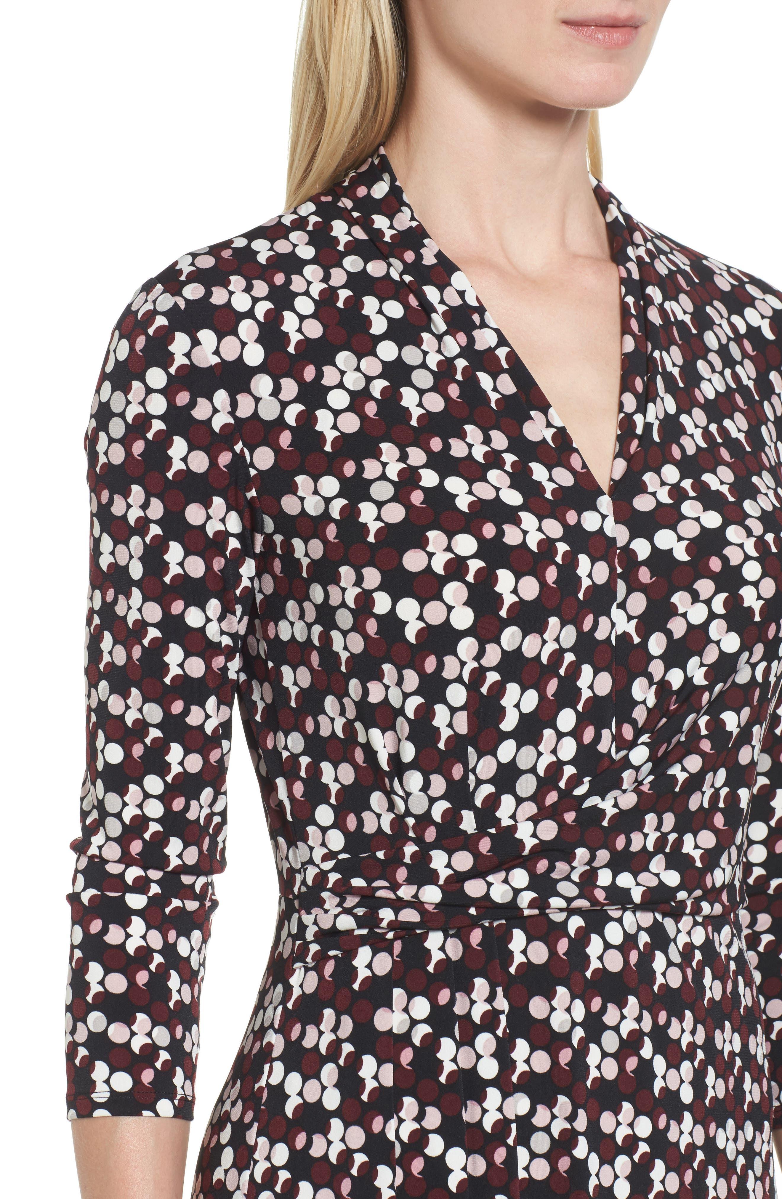 Dot Print Midi Dress,                             Alternate thumbnail 4, color,                             006