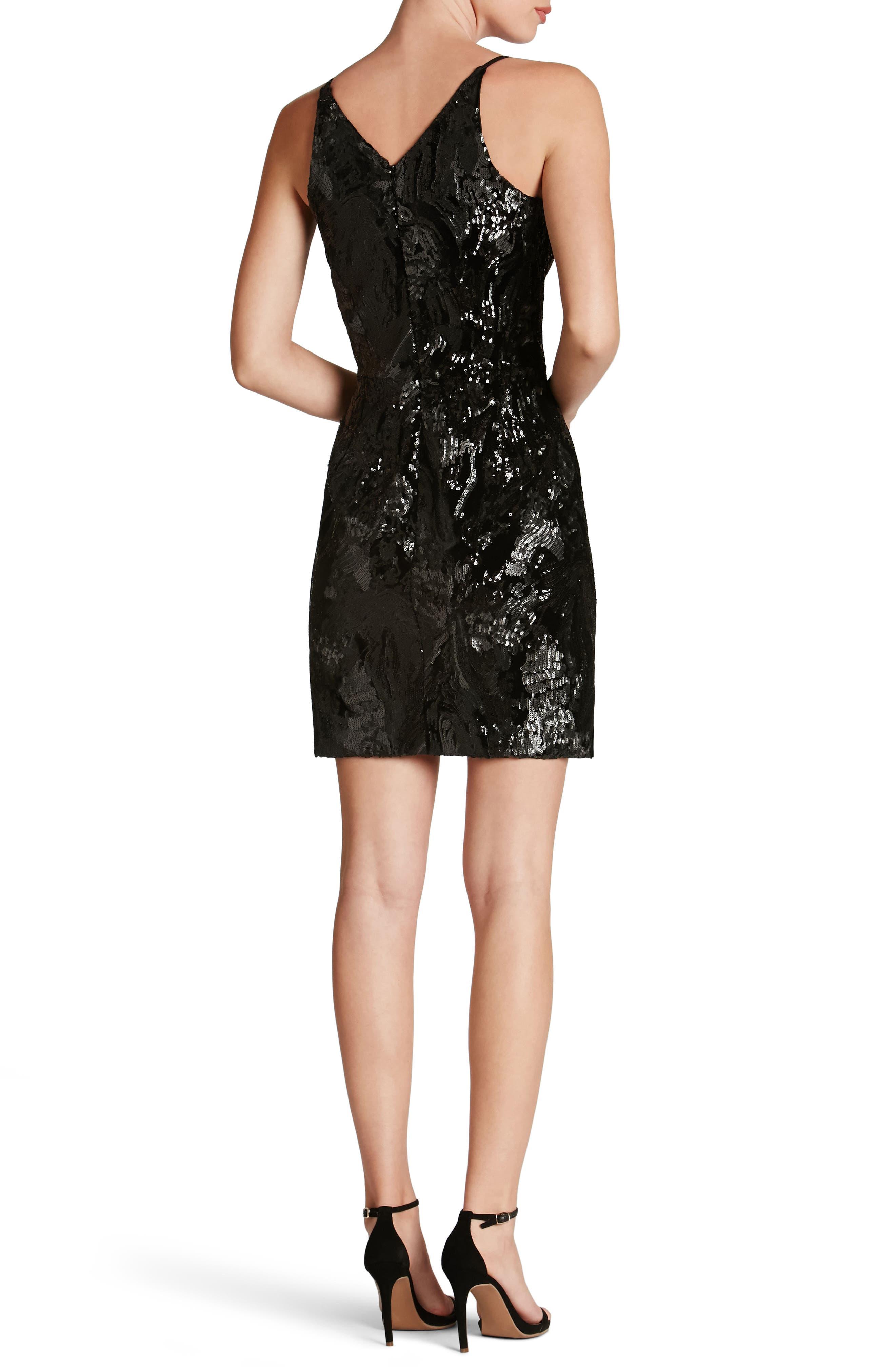 Jordyn Plunge Sequin Body-Con Dress,                             Alternate thumbnail 2, color,                             015