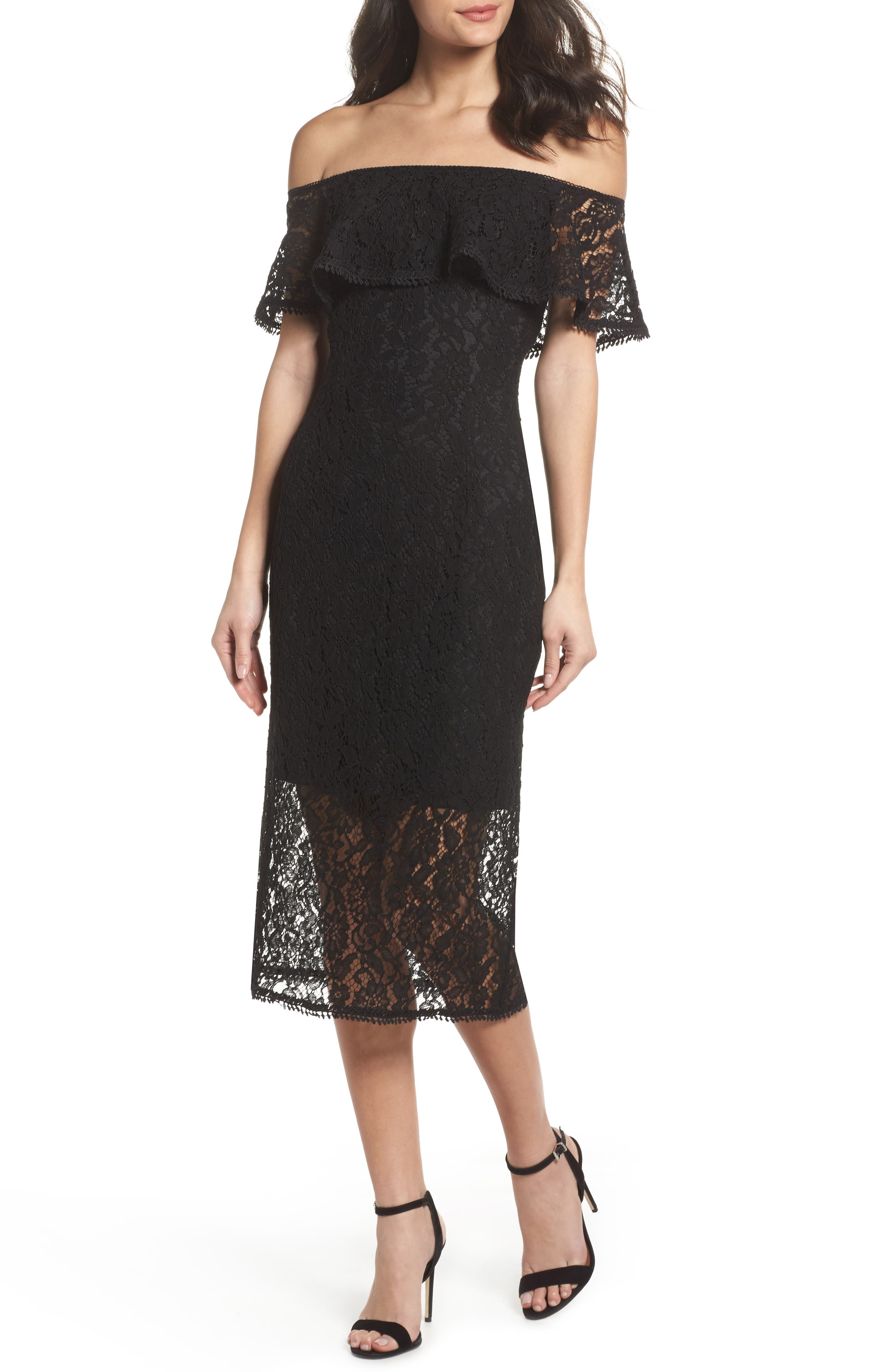 Lace Off the Shoulder Midi Dress,                         Main,                         color, 001