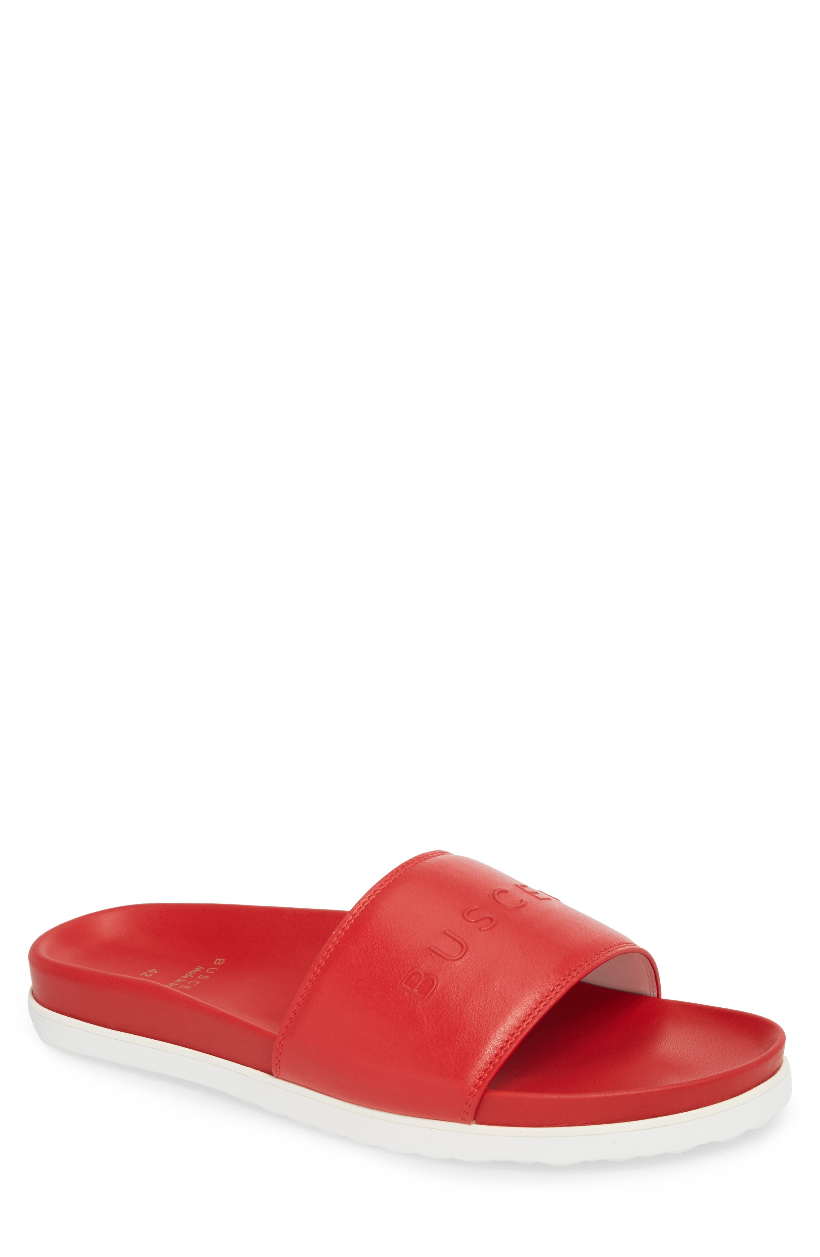 Embossed Logo Sport Slide,                         Main,                         color, RED