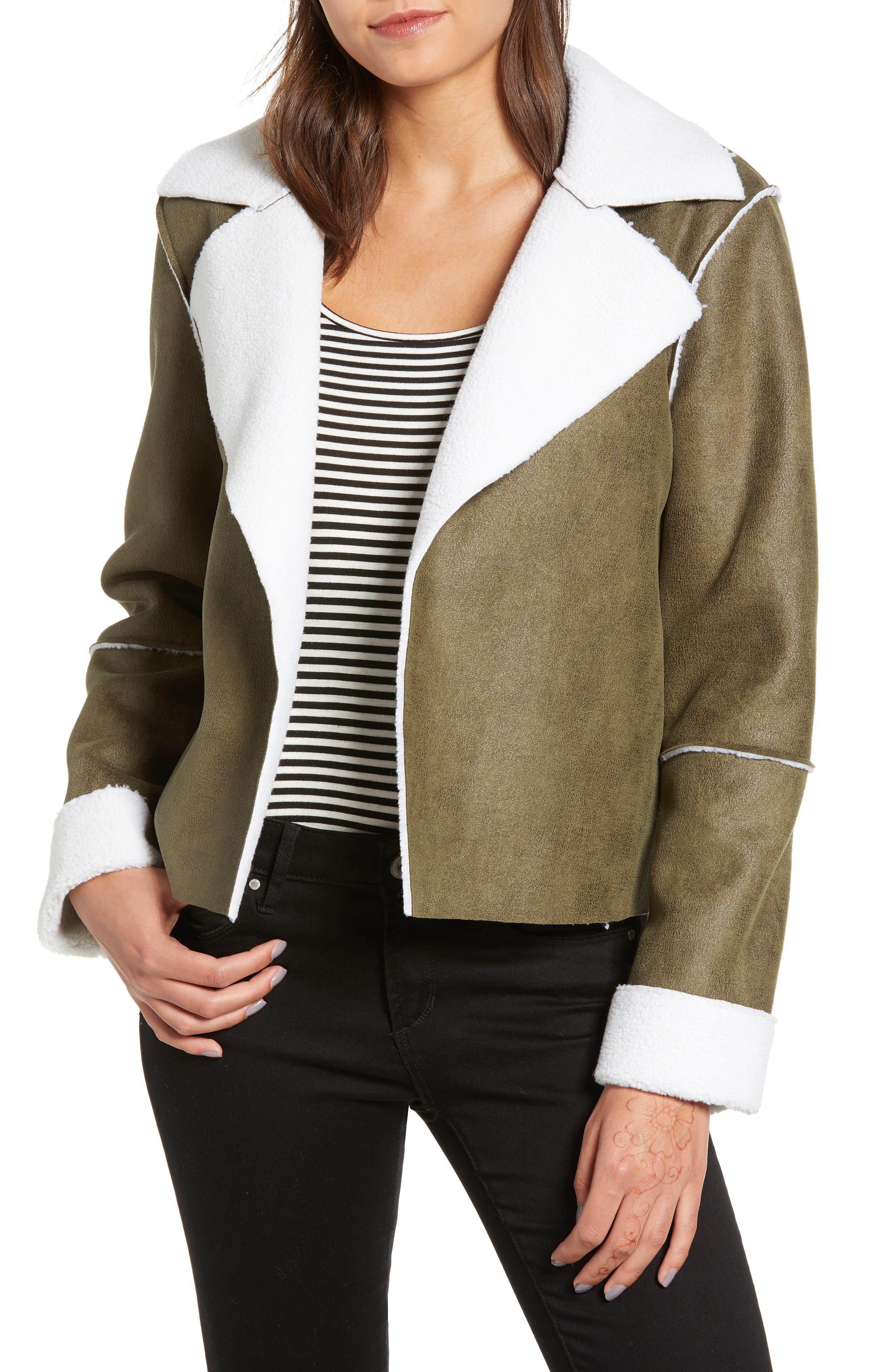 Faux Shearling Moto Jacket,                             Main thumbnail 1, color,                             300