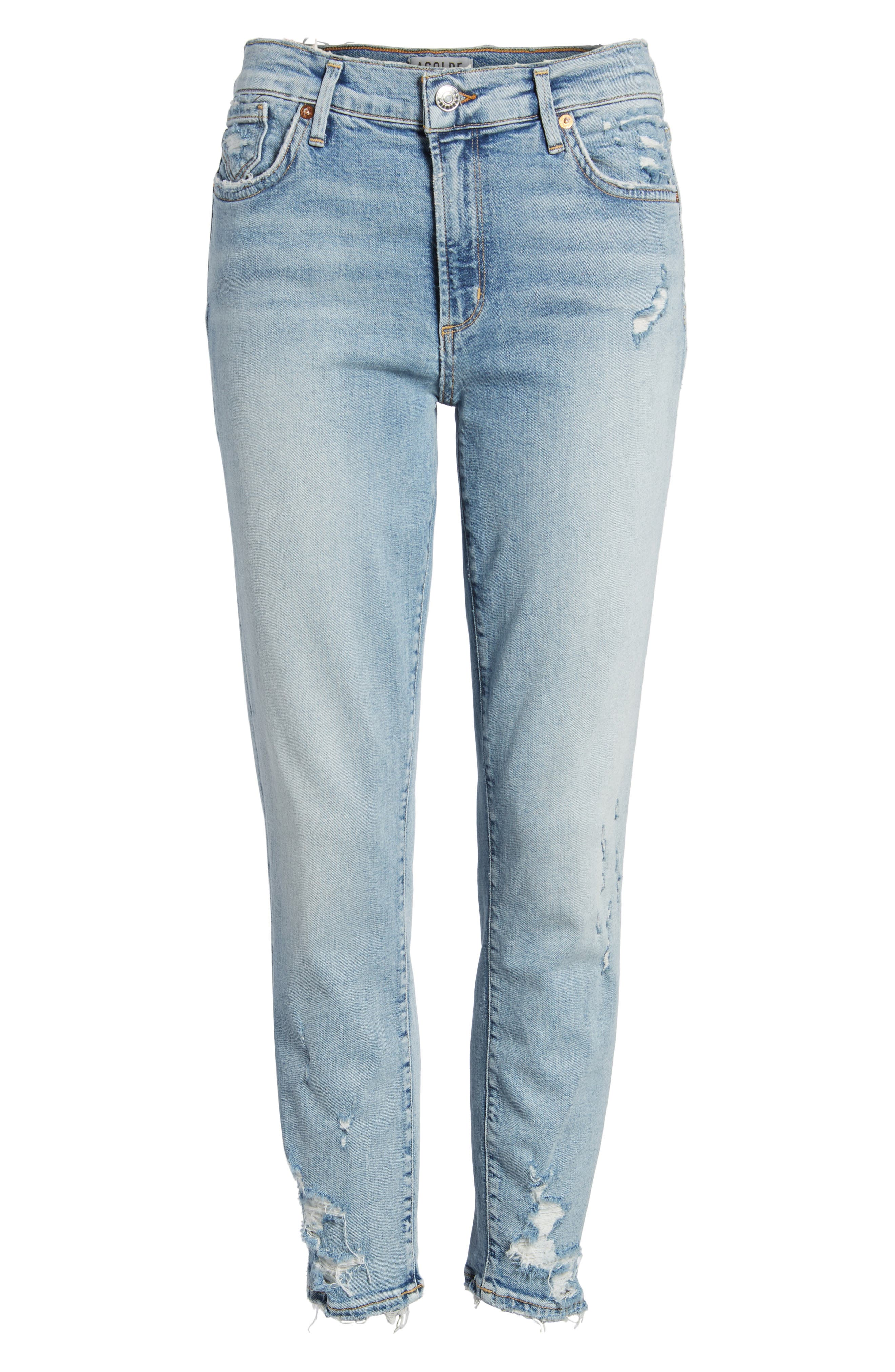 Sophie Distressed High Waist Crop Skinny Jeans,                             Alternate thumbnail 7, color,