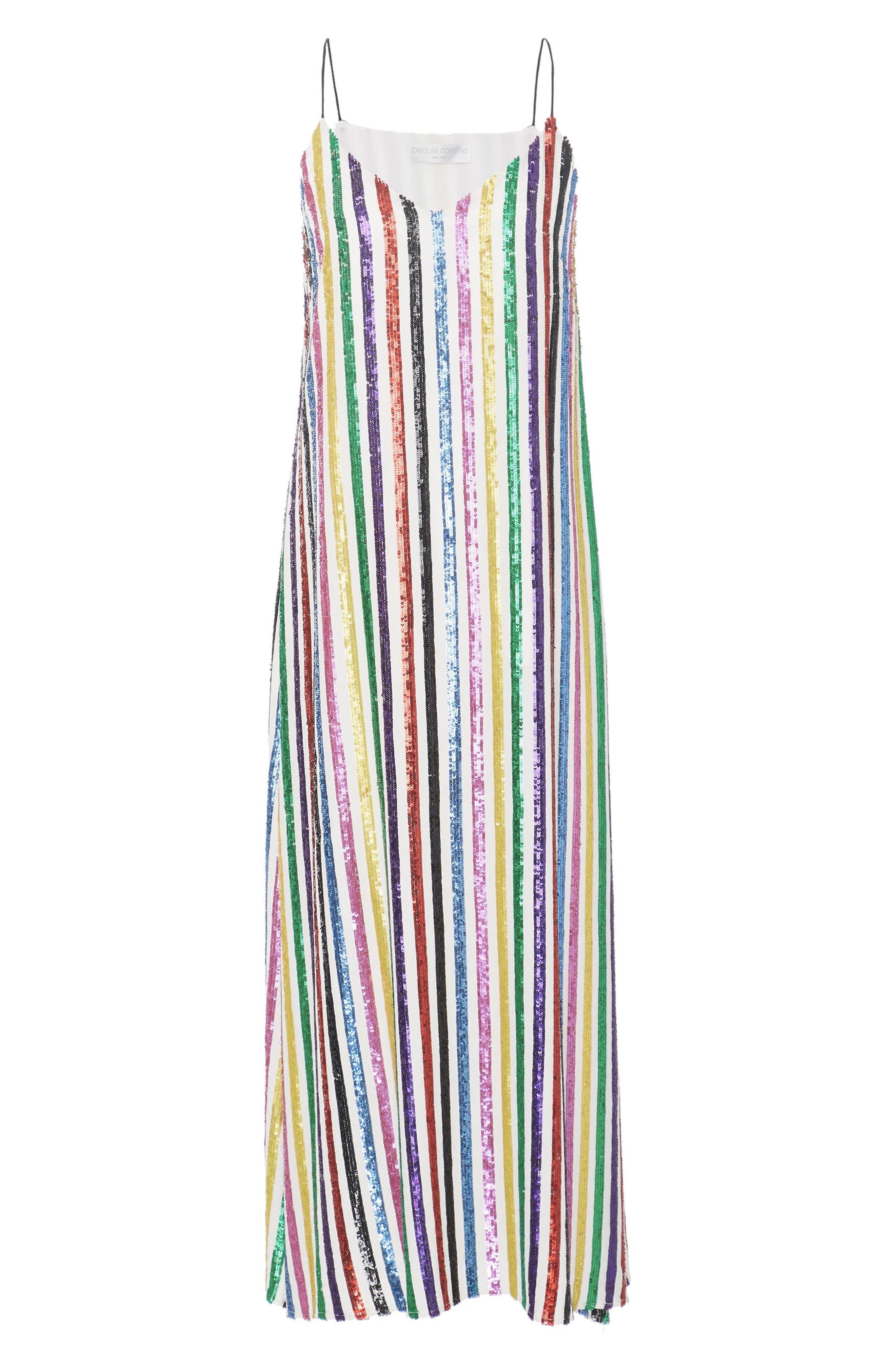 CAROLINE CONSTAS,                             Sequin Stripe Midi Slipdress,                             Alternate thumbnail 7, color,                             WHITE MULTI
