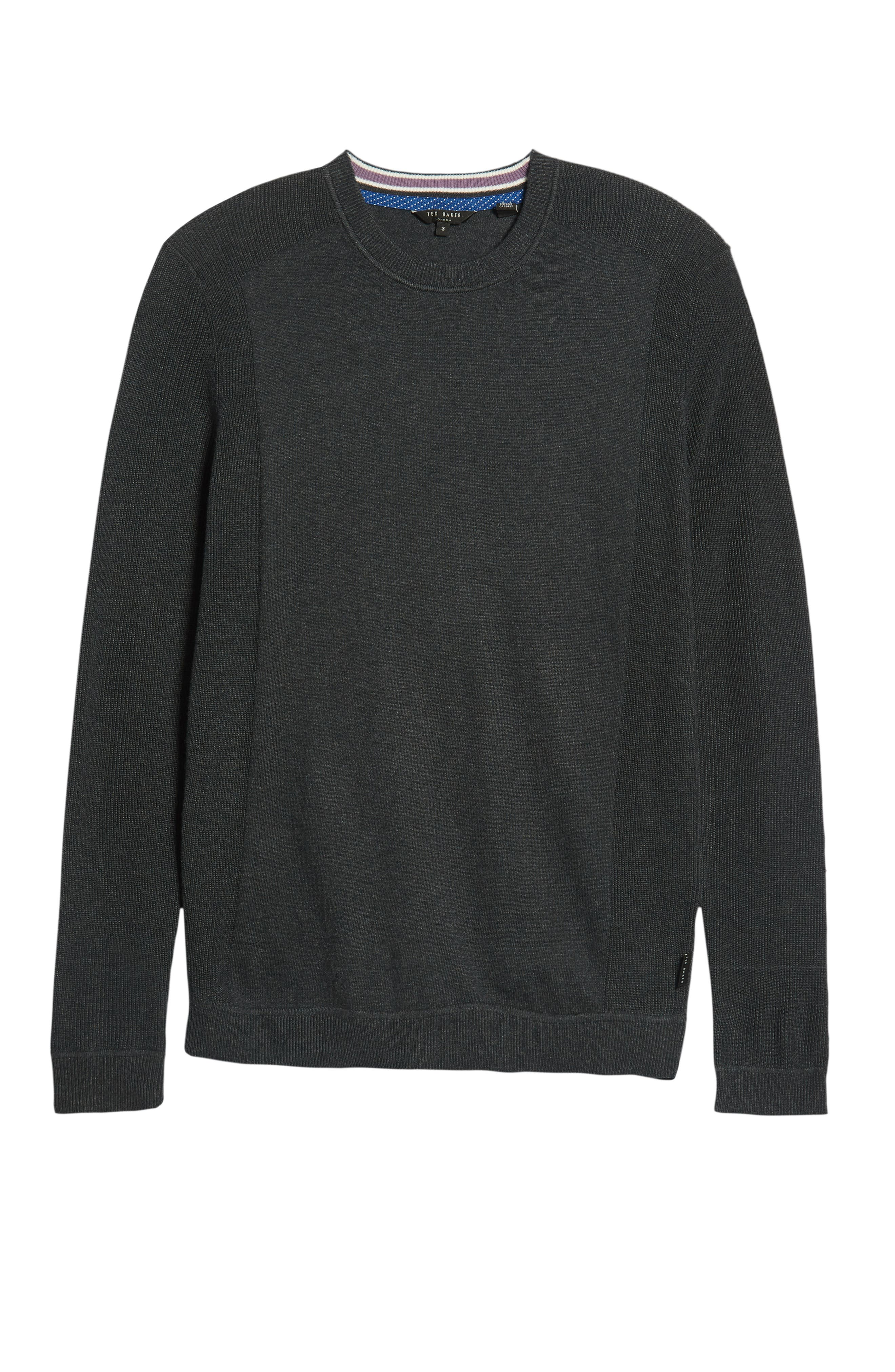 Reversy Slim Fit Crewneck Long Sleeve T-Shirt,                             Alternate thumbnail 6, color,                             CHARCOAL