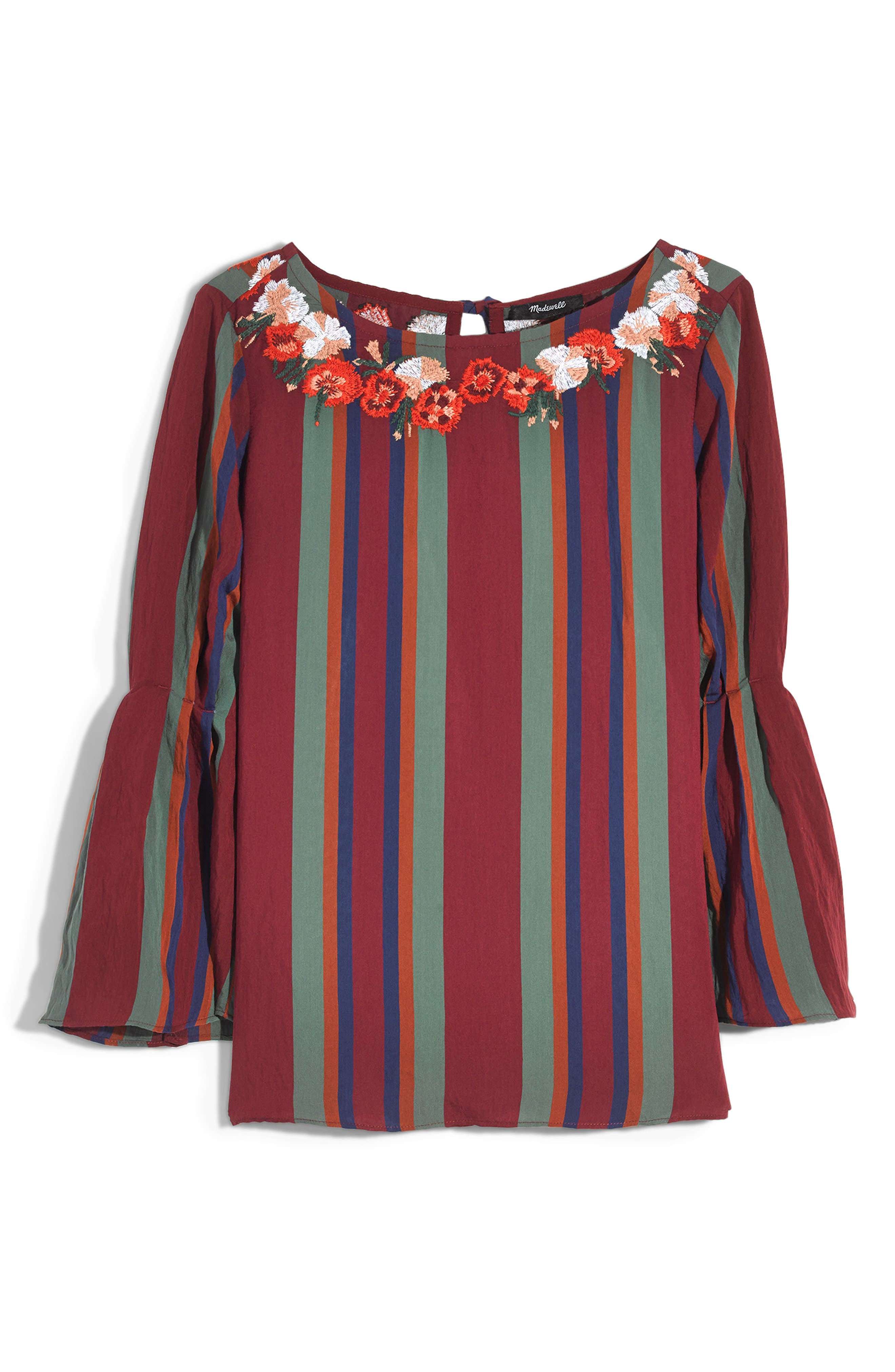 Embroidered Pleat Sleeve Top,                             Alternate thumbnail 5, color,                             930