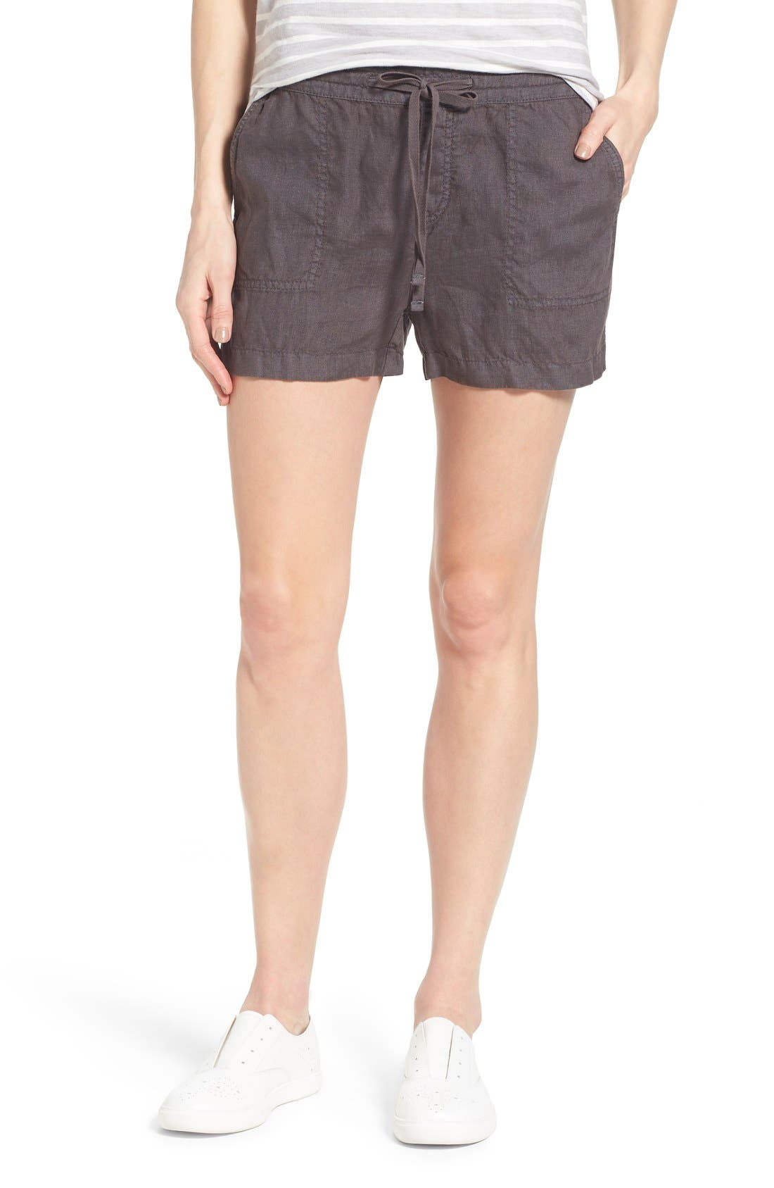 Drawstring Linen Shorts,                         Main,                         color, 030
