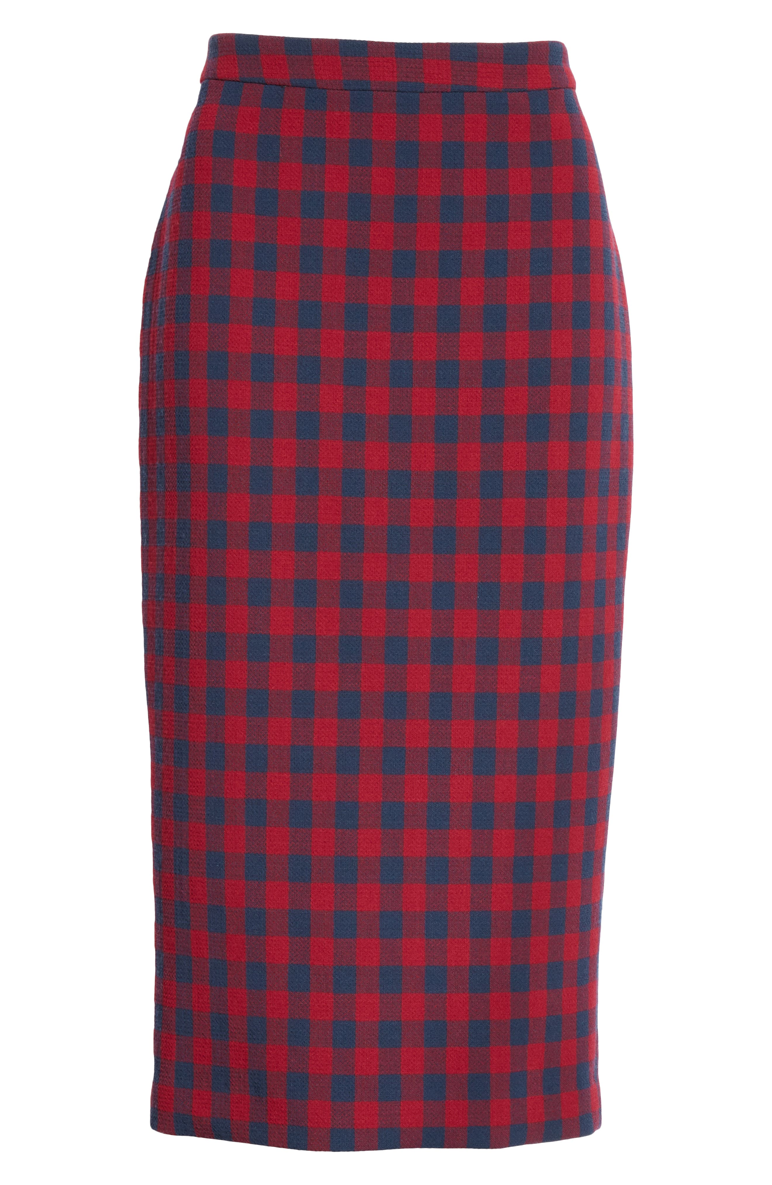 Thea Plaid Wool Pencil Skirt,                             Alternate thumbnail 6, color,                             BERRY/ NAVY