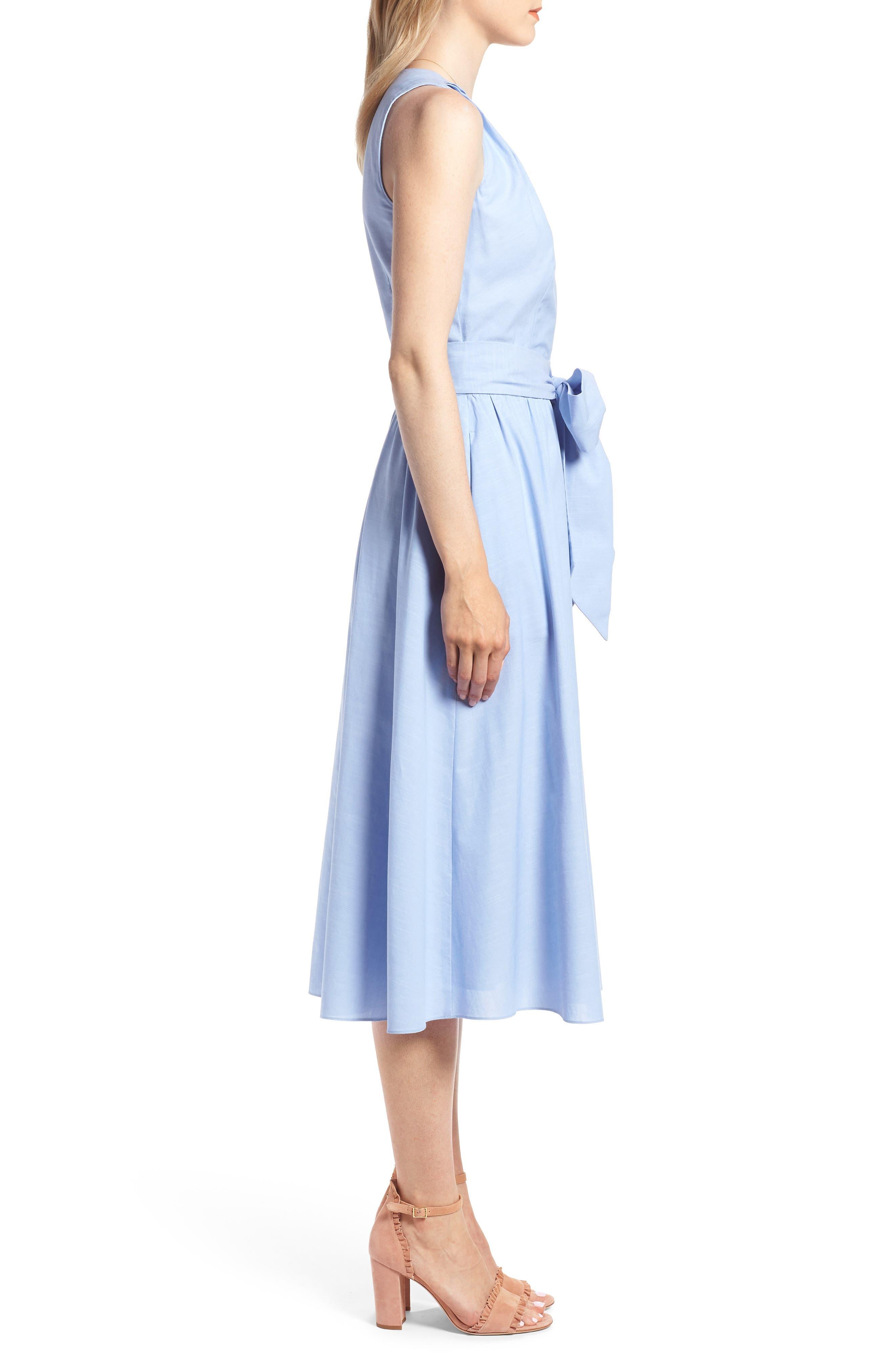Chambray Wrap Dress,                             Alternate thumbnail 3, color,                             420