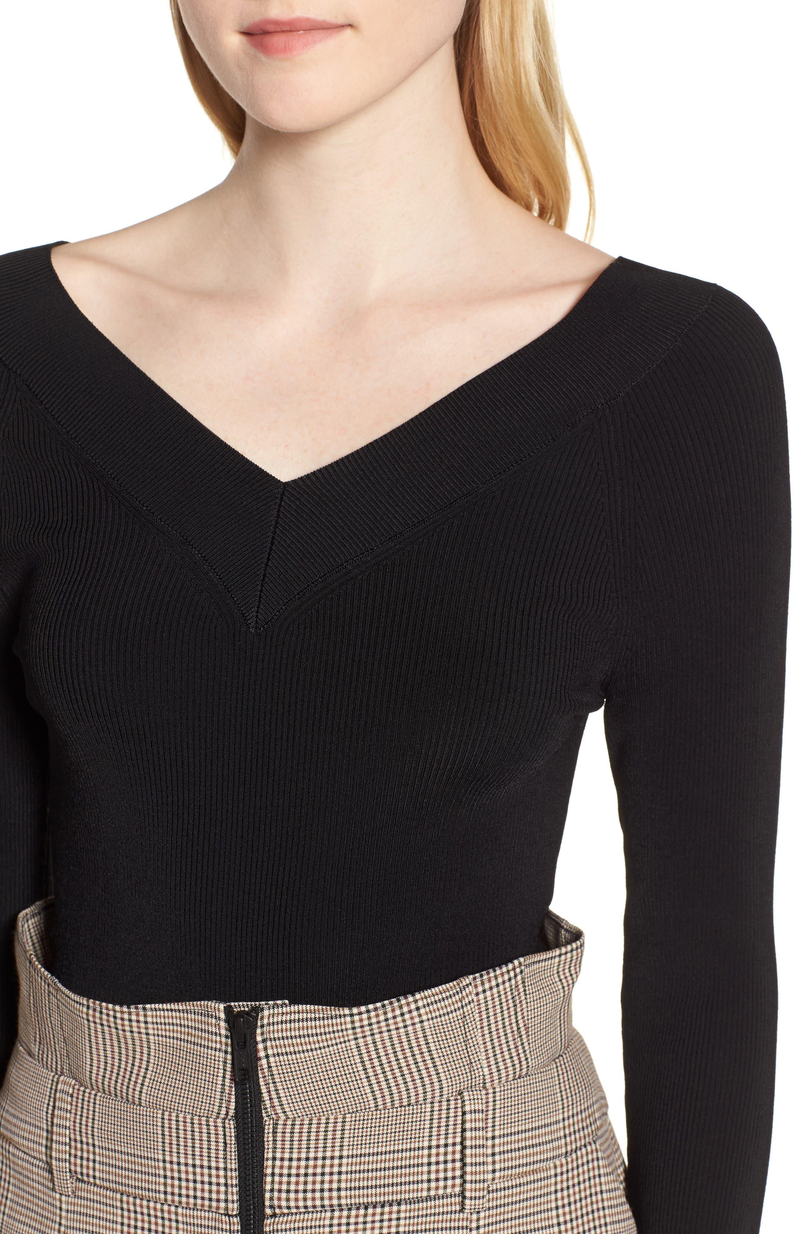 Skivvy Double-V Sweater,                             Alternate thumbnail 4, color,                             001
