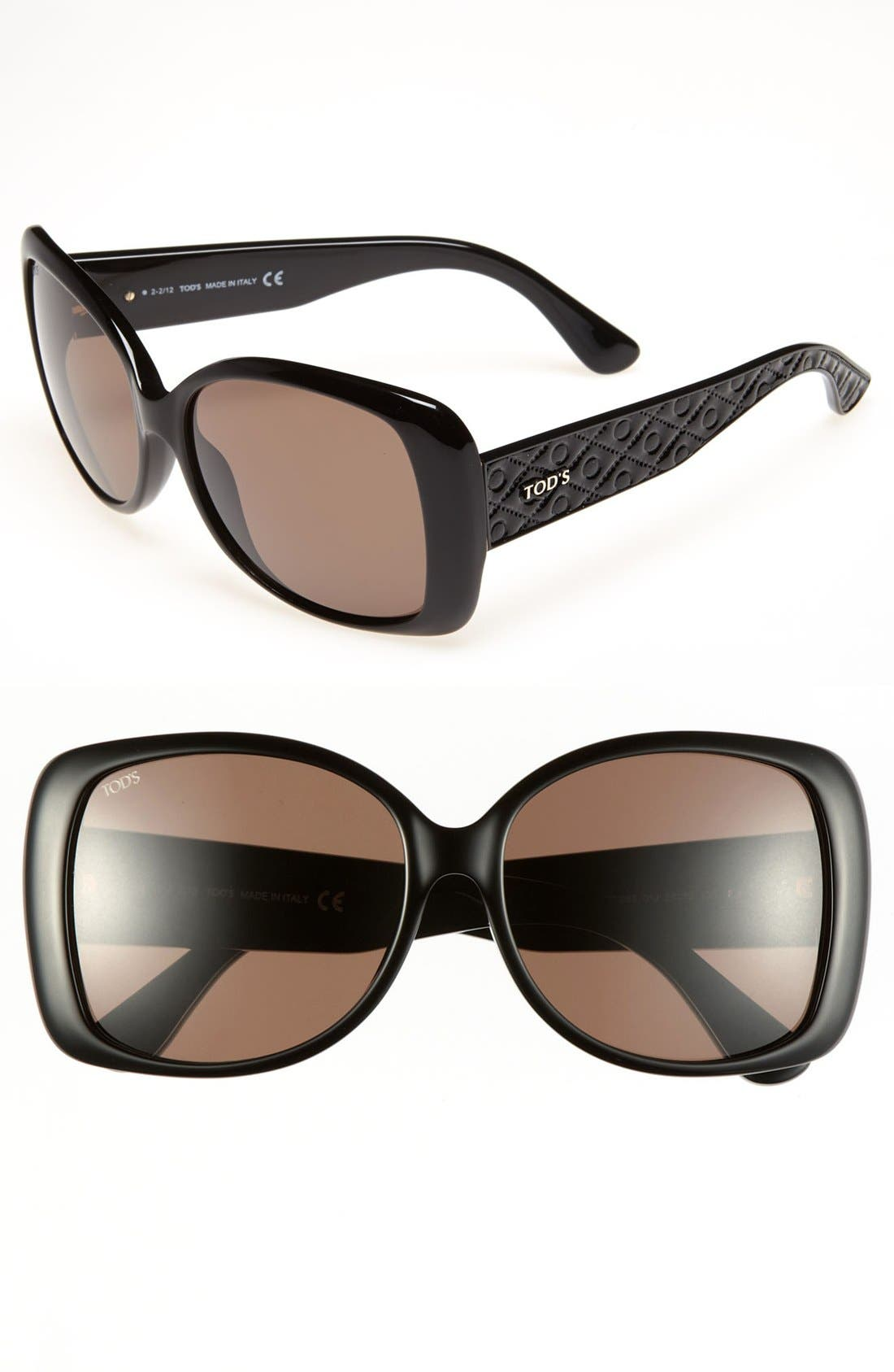 58mm Square Sunglasses,                             Main thumbnail 1, color,