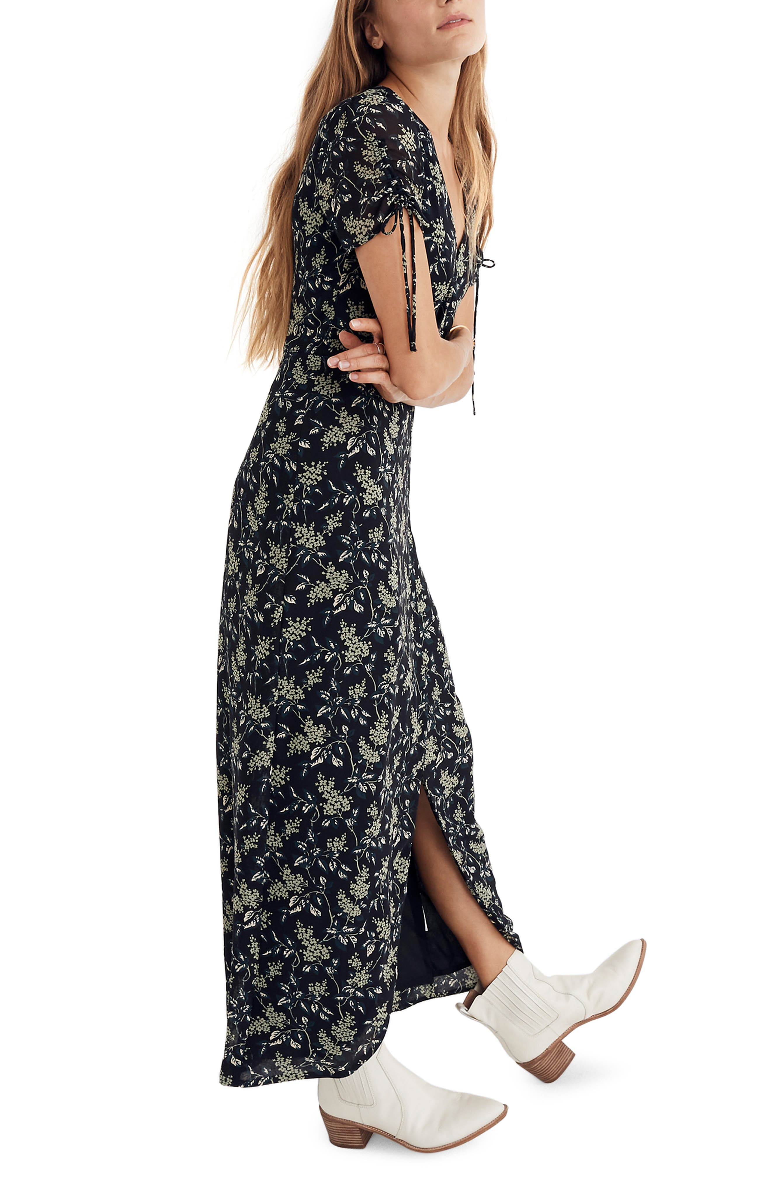 Tulip Sleeve Maxi Dress,                             Alternate thumbnail 3, color,                             CLASSIC BLACK