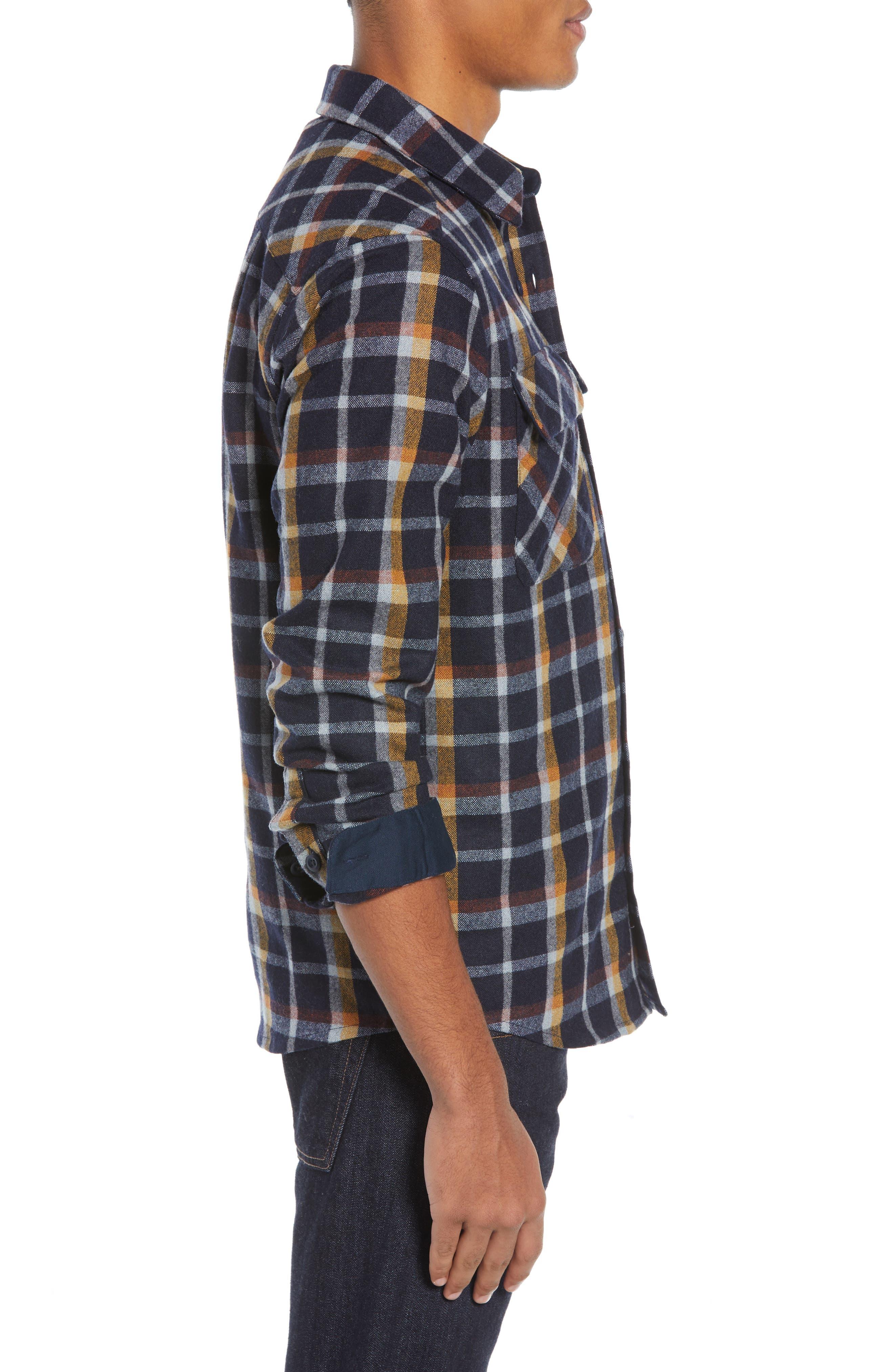 Recycled Wool Blend Shirt,                             Alternate thumbnail 4, color,                             REBEL PLAID/ NAVY BLUE