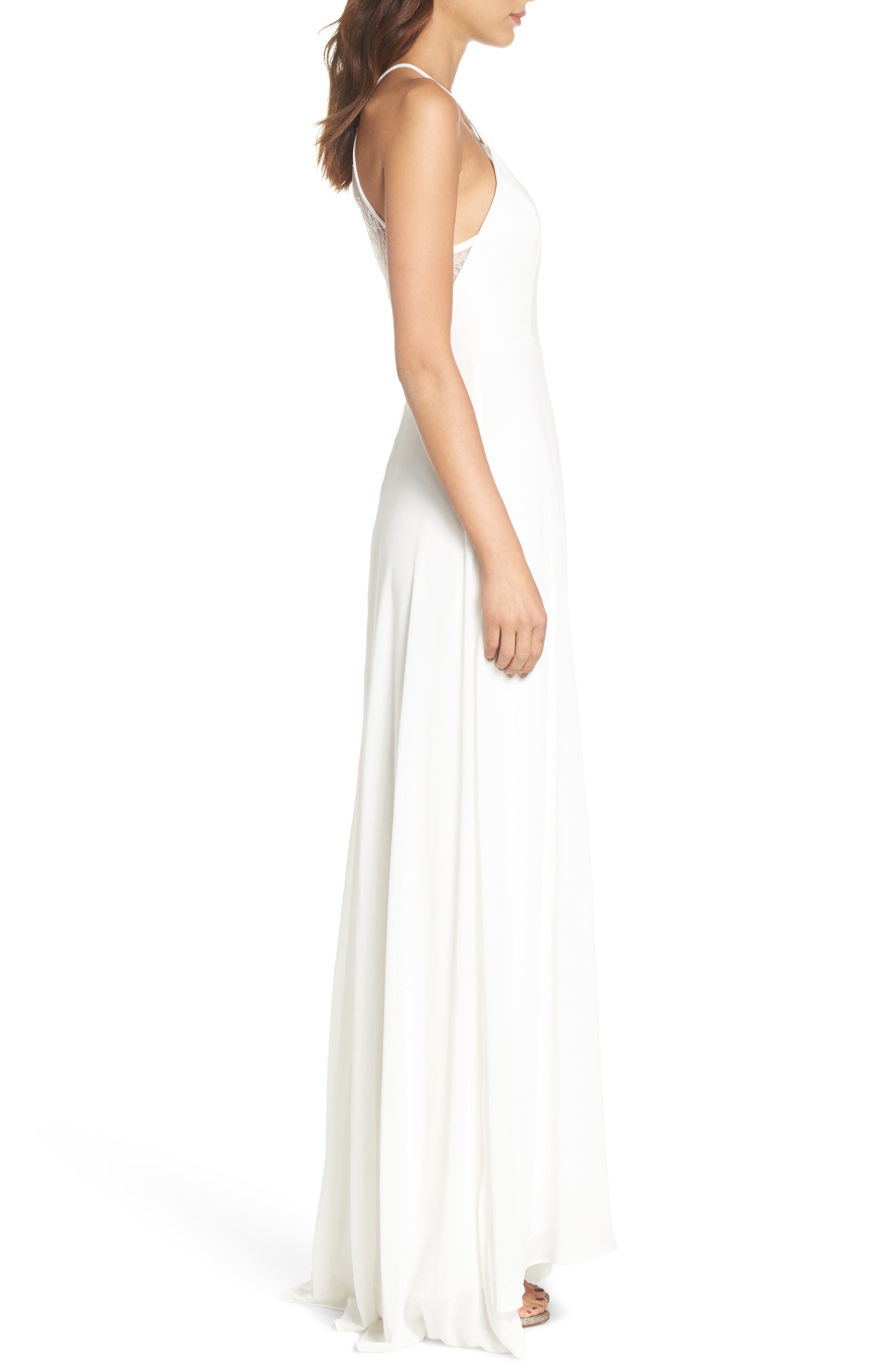 Lace Inset Halter Neck Gown,                             Alternate thumbnail 3, color,                             WHITE