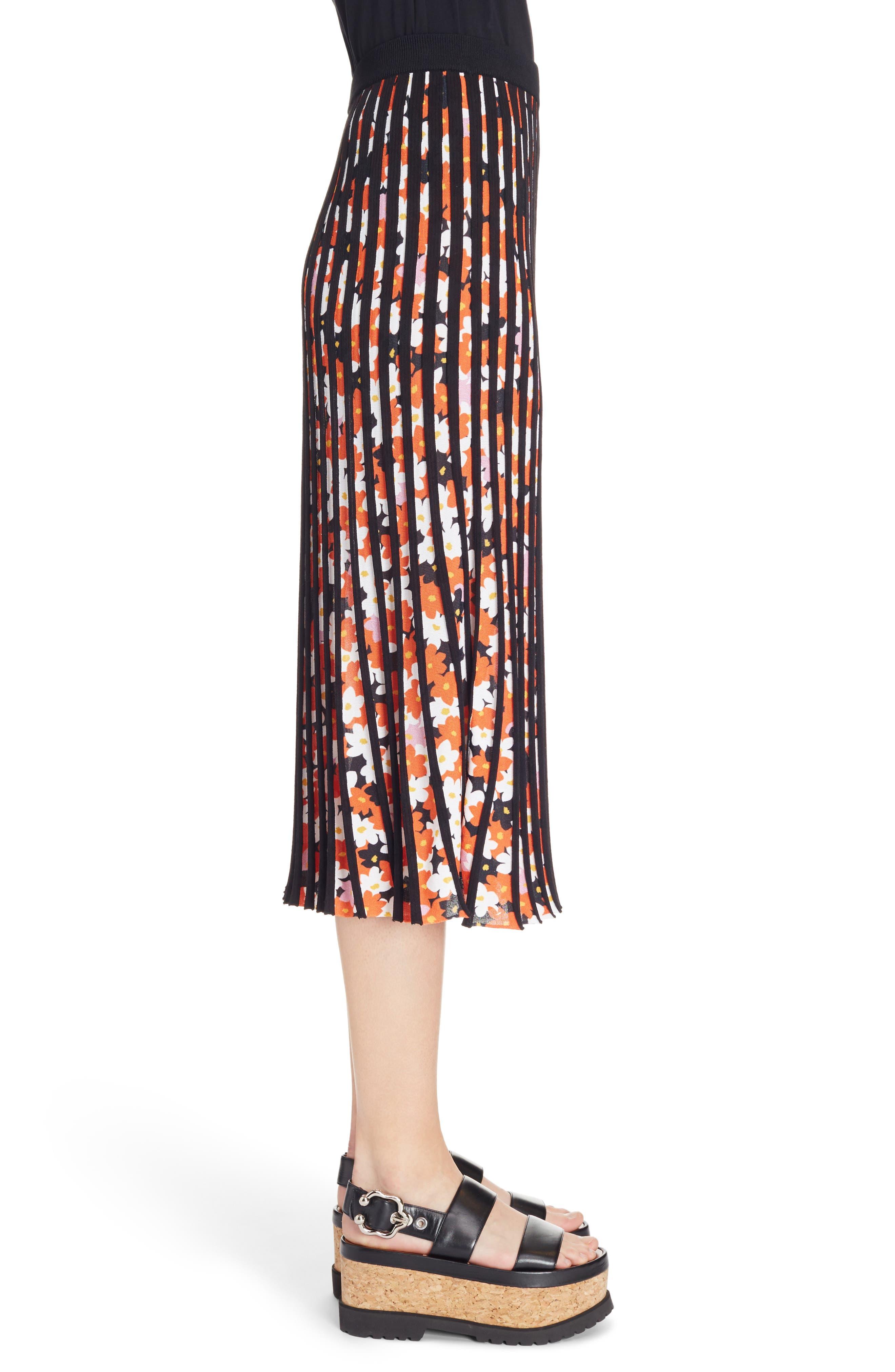 Knit Pleated Midi Skirt,                             Alternate thumbnail 3, color,                             001