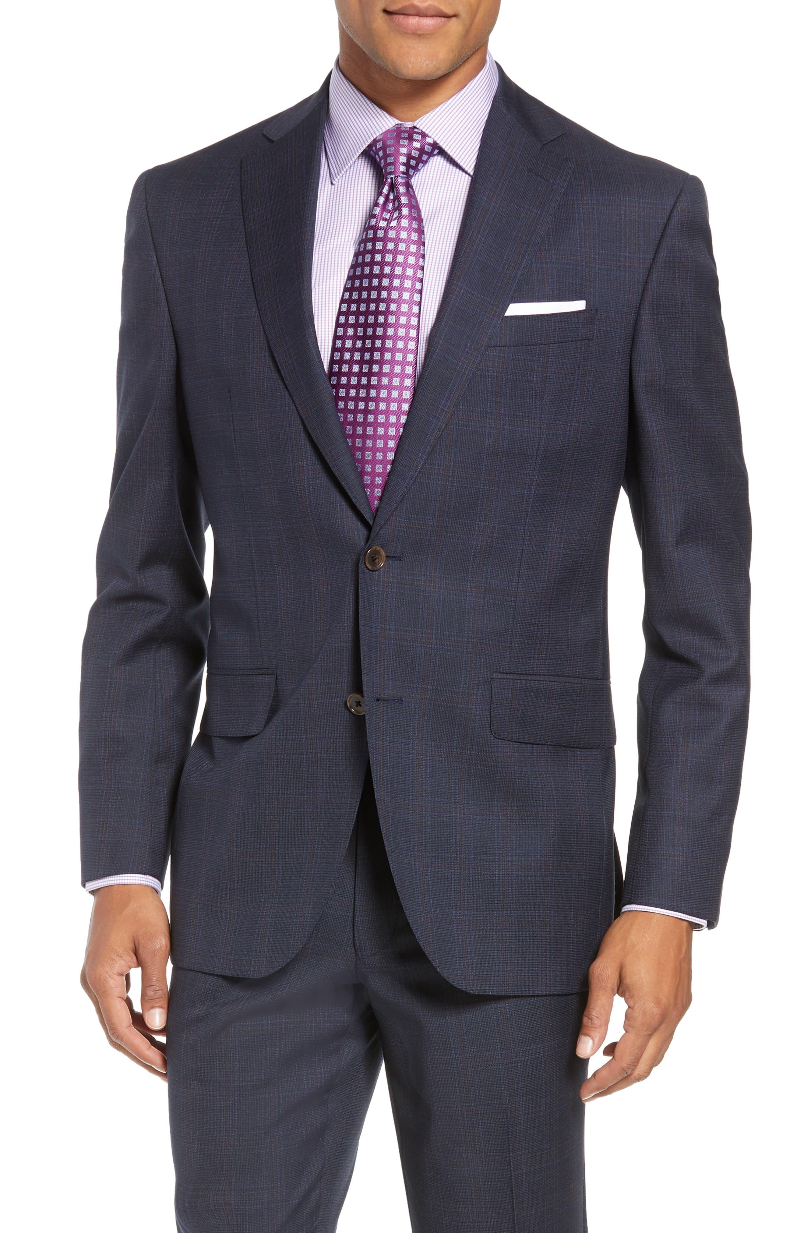 Ryan Classic Fit Plaid Wool Suit,                             Alternate thumbnail 5, color,                             NAVY