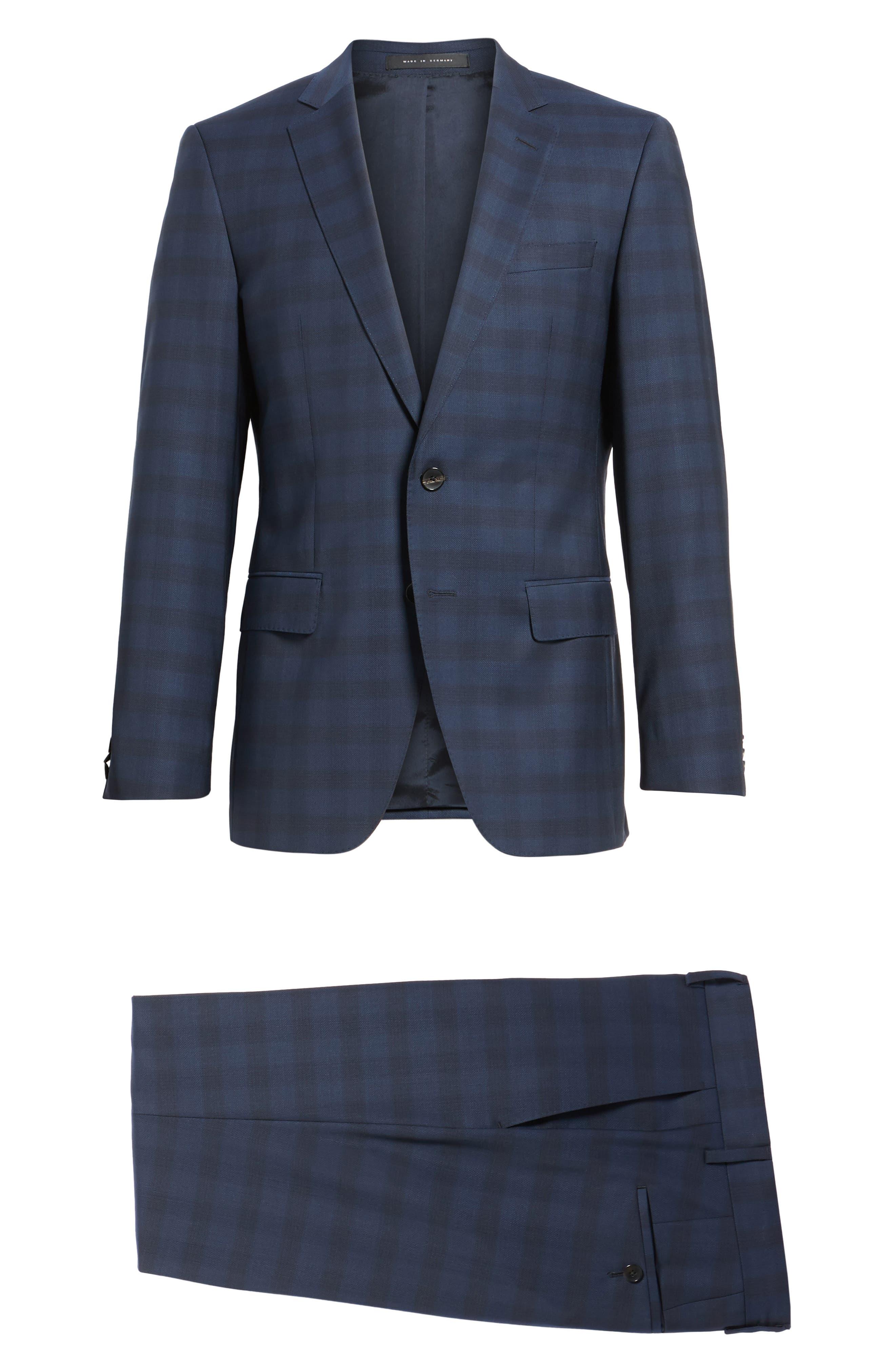 Huge/Genius Trim Fit Plaid Wool Suit,                             Alternate thumbnail 8, color,