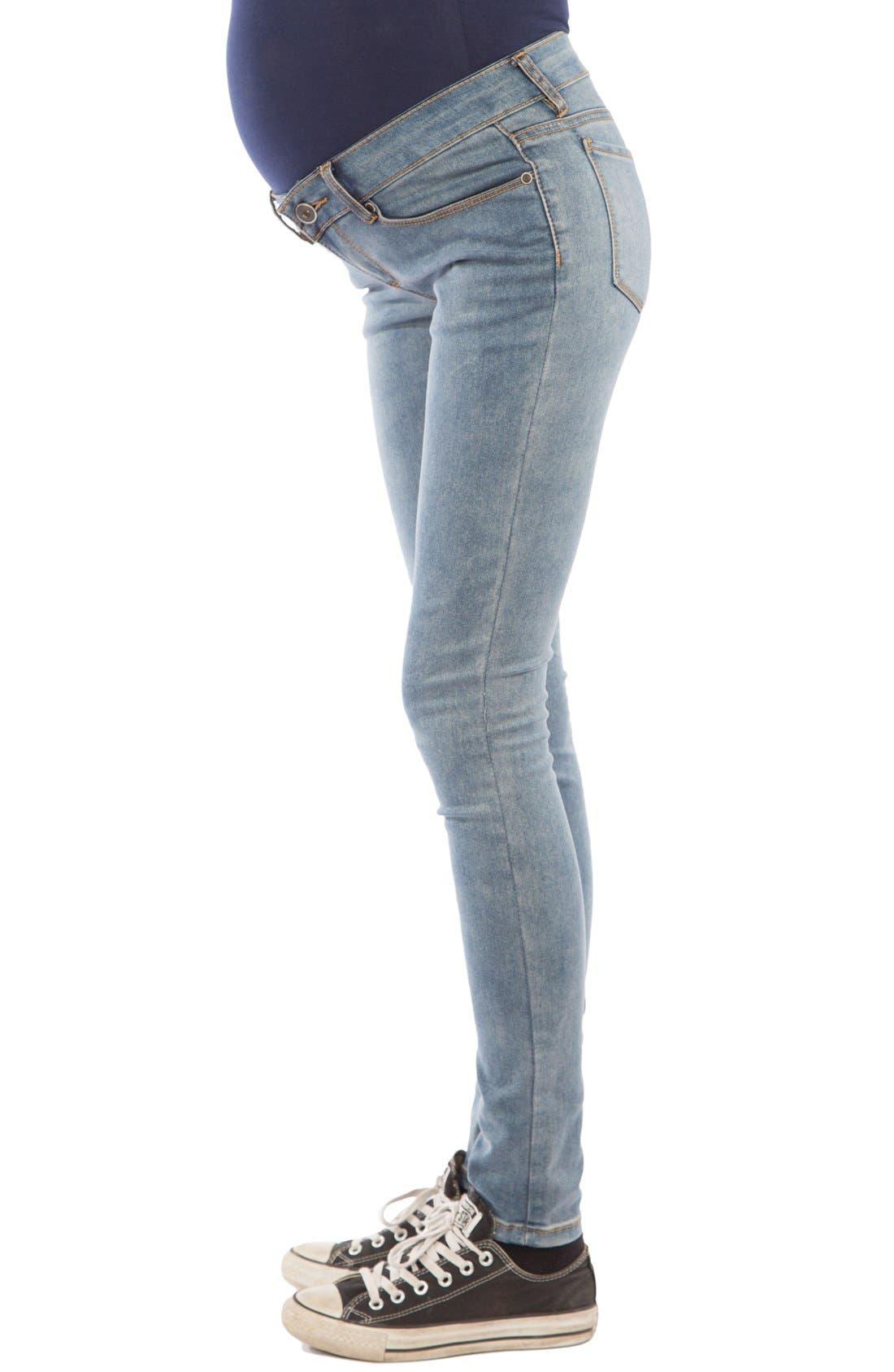 Skinny Maternity Jeans,                             Alternate thumbnail 4, color,                             MEDIUM BLUE WASH