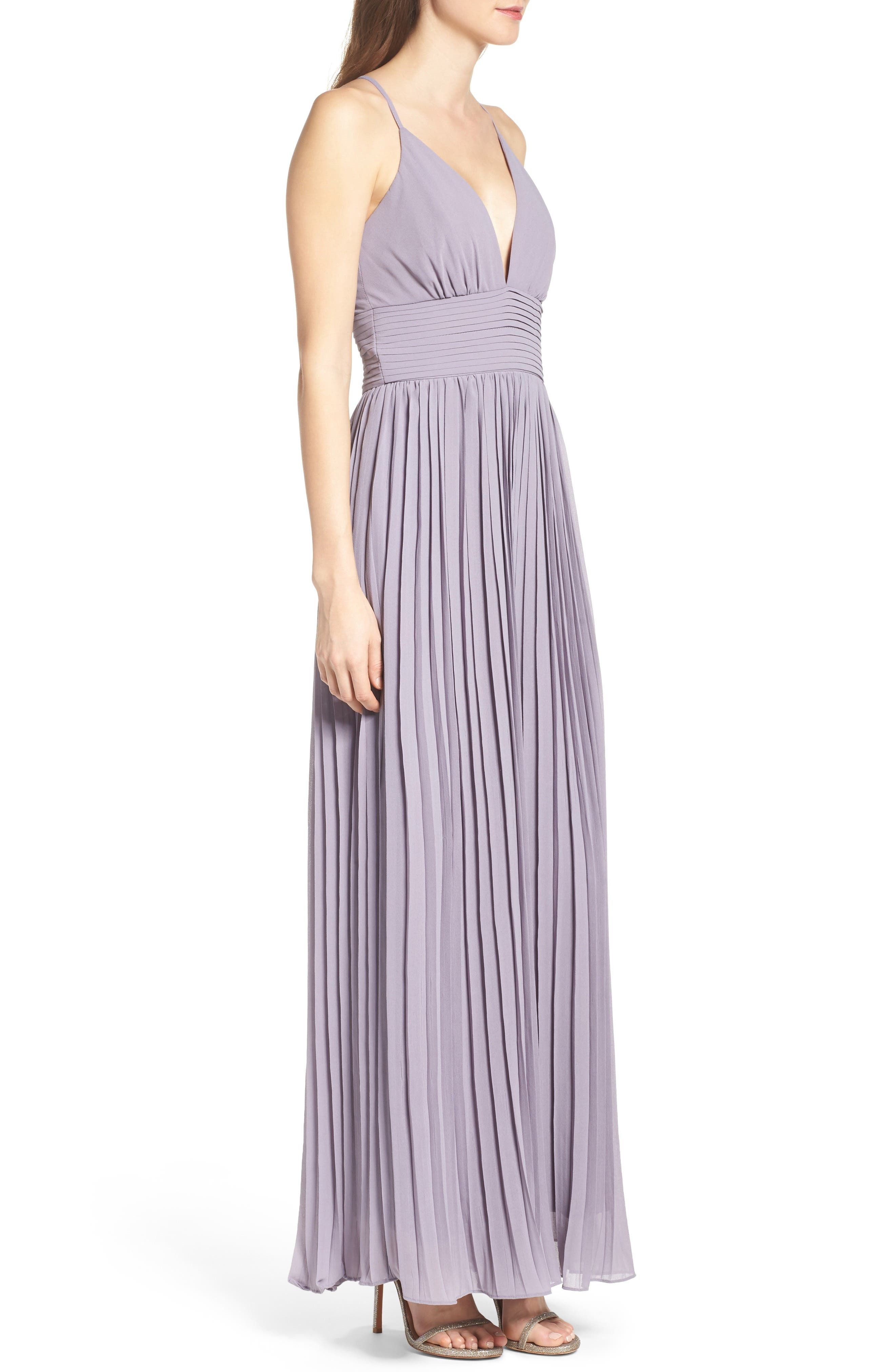 Plunging V-Neck Pleat Georgette Gown,                             Alternate thumbnail 24, color,