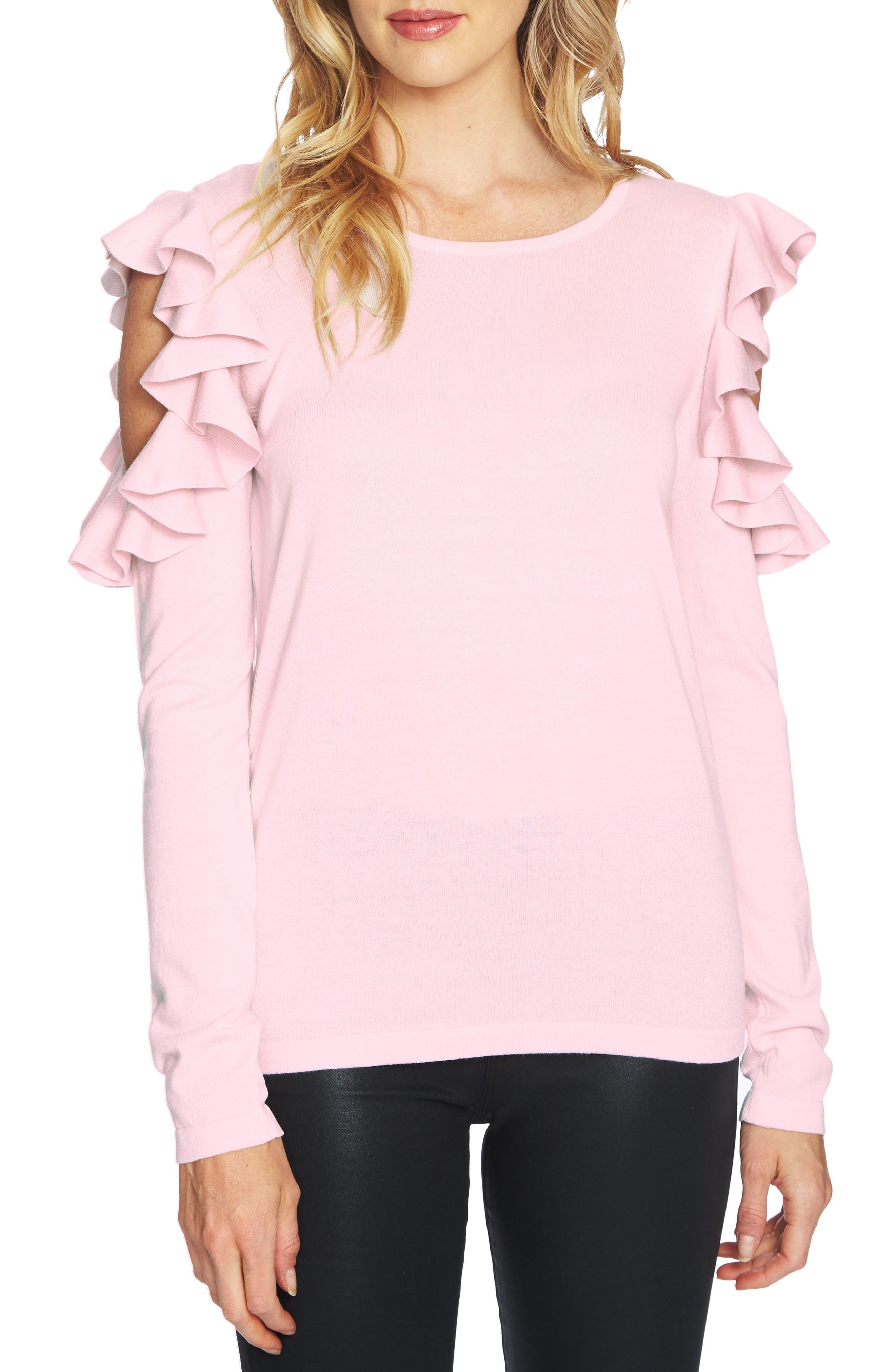 Ruffled Cold Shoulder Sweater,                             Main thumbnail 5, color,