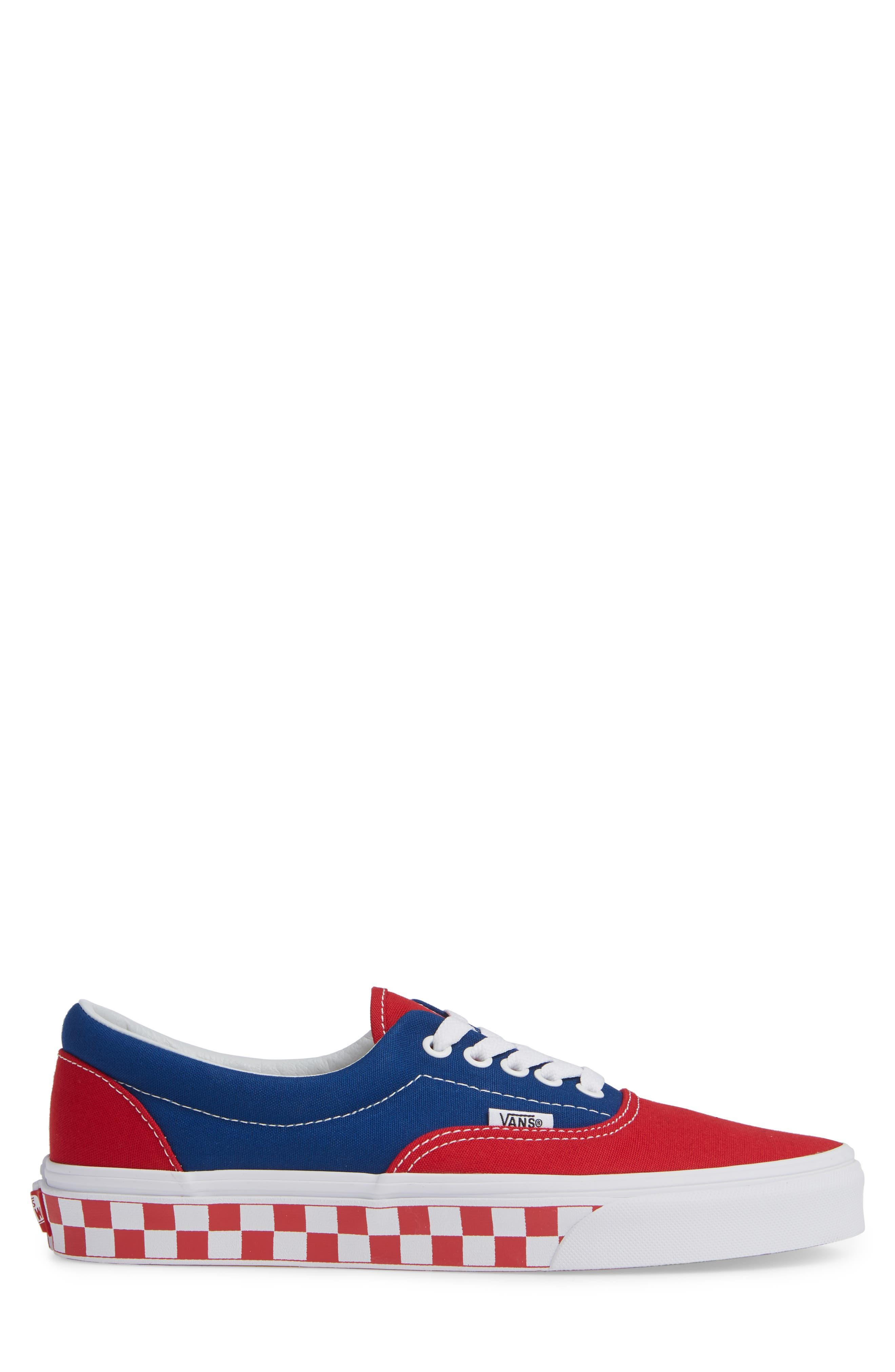 BMX Checkerboard Era Sneaker,                             Alternate thumbnail 3, color,                             BLUE/ RED CHECKER CANVAS