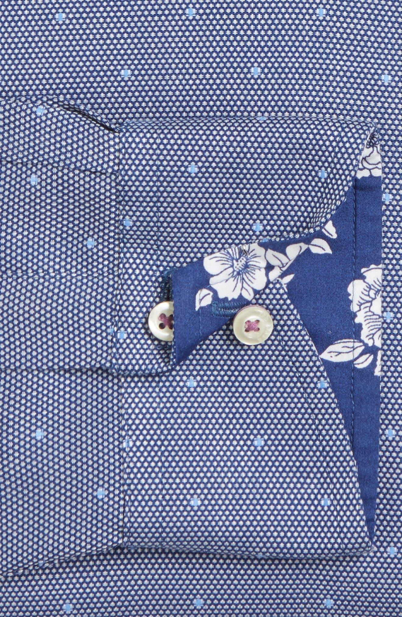 Trim Fit Dot Dress Shirt,                             Alternate thumbnail 4, color,                             410