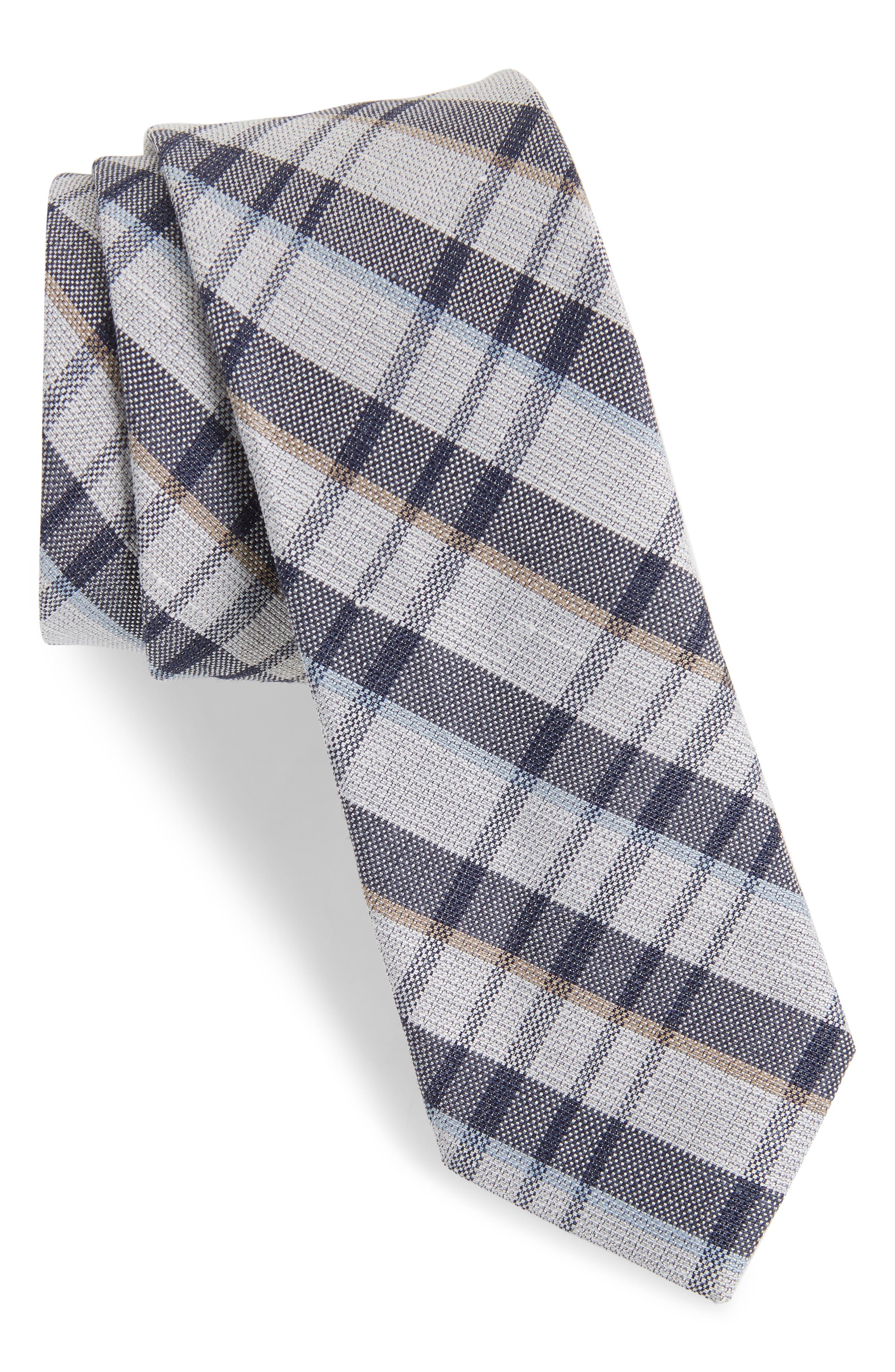 Duffy Plaid Linen & Silk Tie,                             Main thumbnail 1, color,                             410