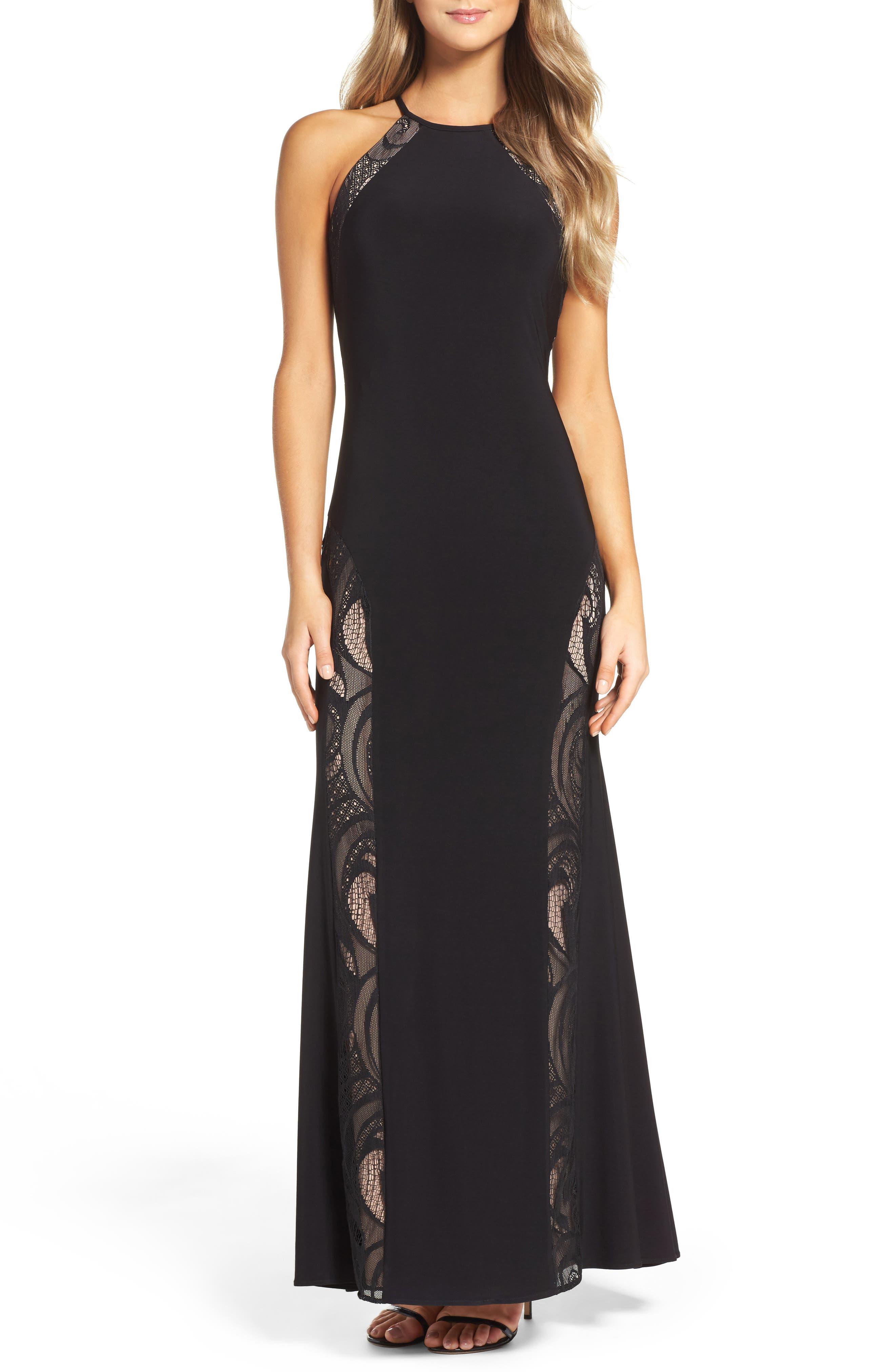 A-Line Gown,                             Main thumbnail 1, color,                             BLACK