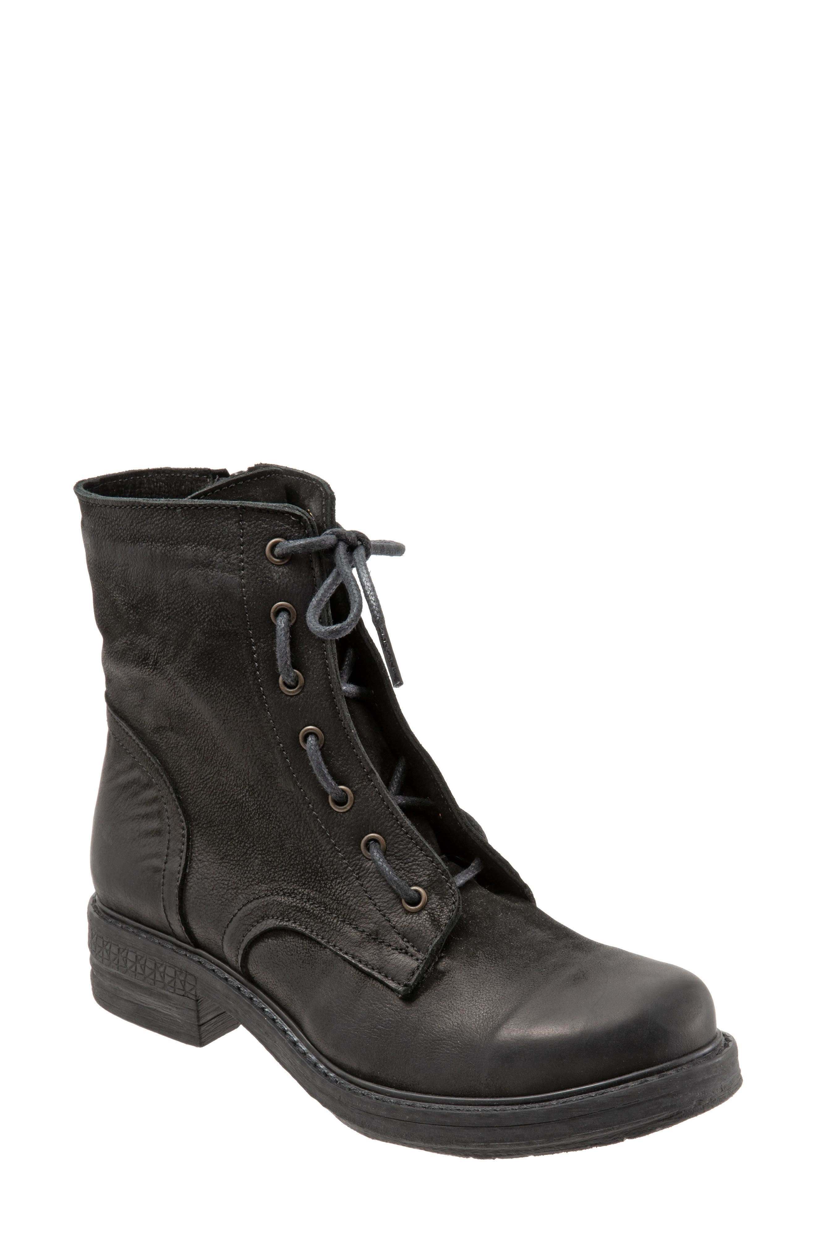 Getty Military Boot,                             Main thumbnail 1, color,                             BLACK NATURAL LEATHER