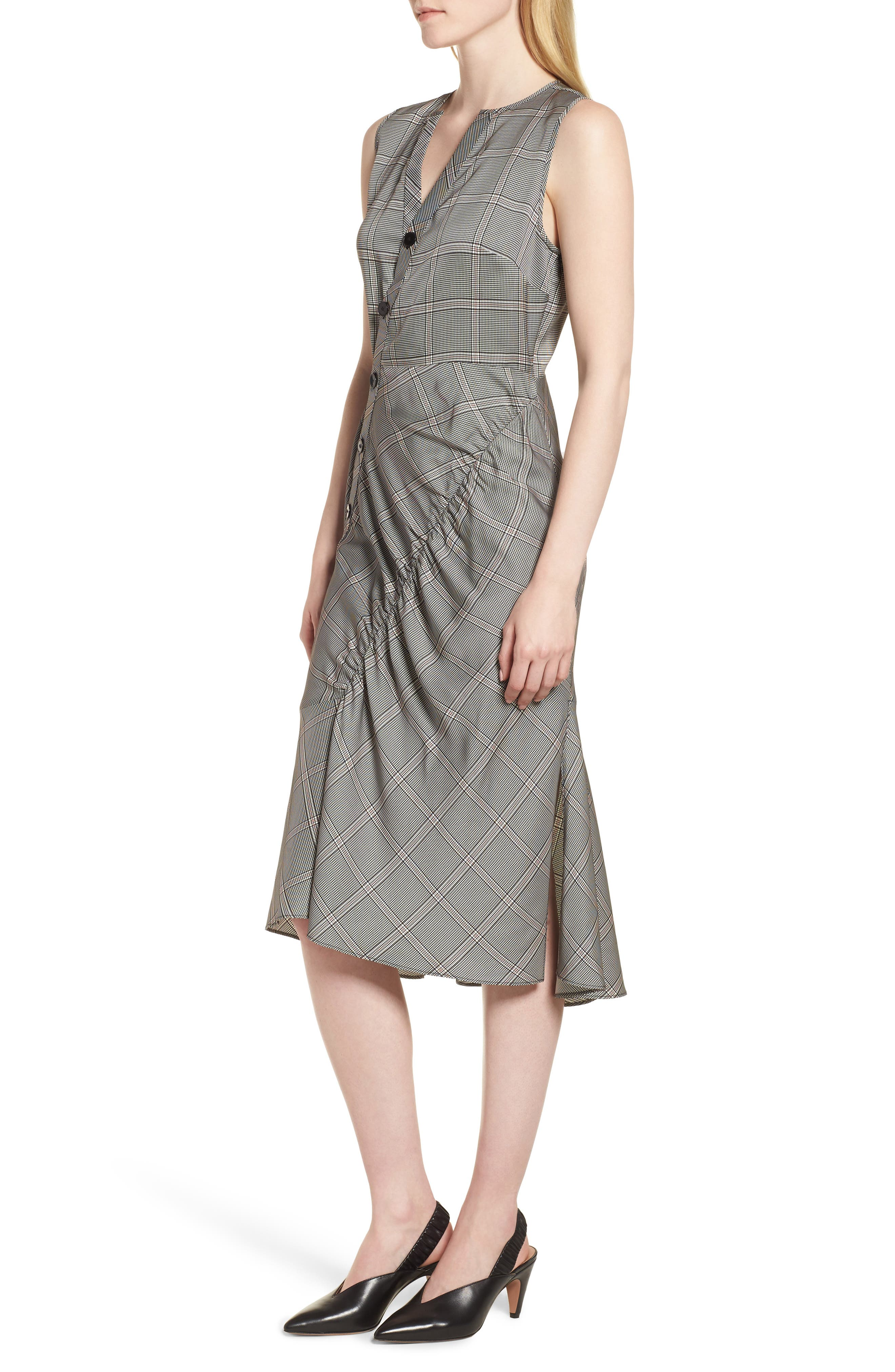 Seam Detail Sleeveless Check Dress,                             Alternate thumbnail 3, color,                             001