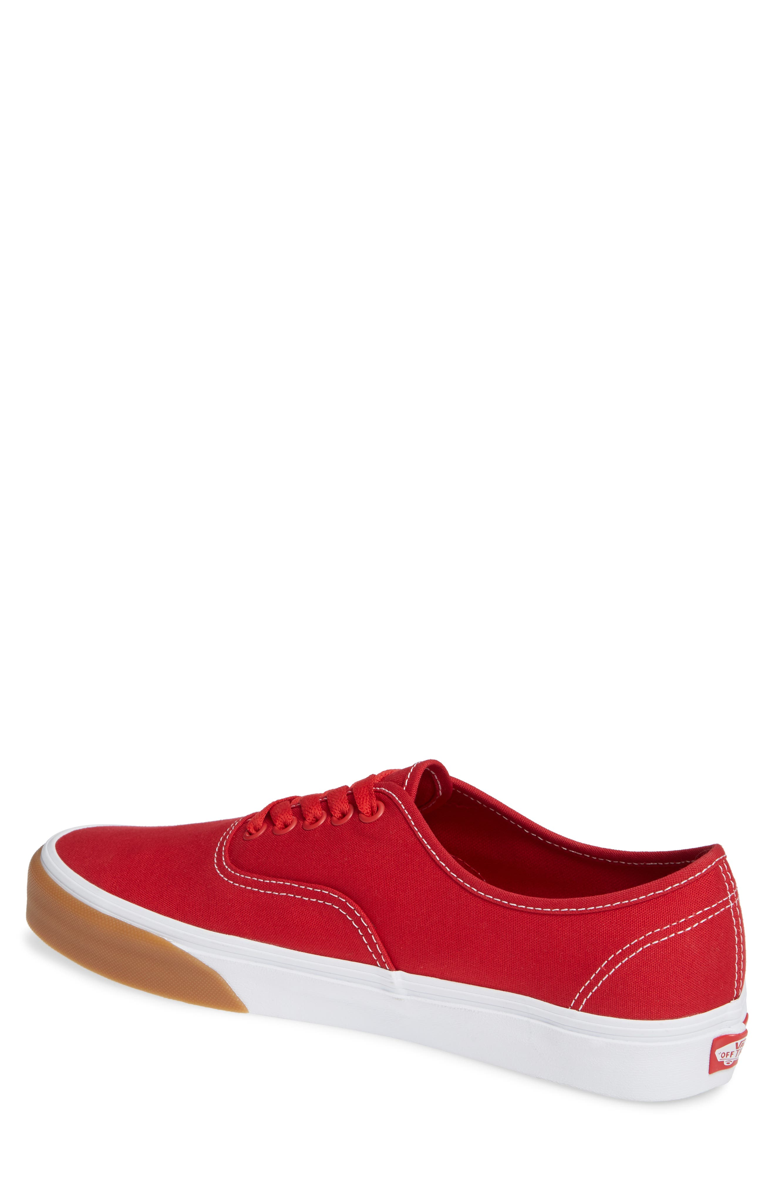 VANS,                             Authentic Gum Bumper Sneaker,                             Alternate thumbnail 2, color,                             RED/ TRUE WHITE