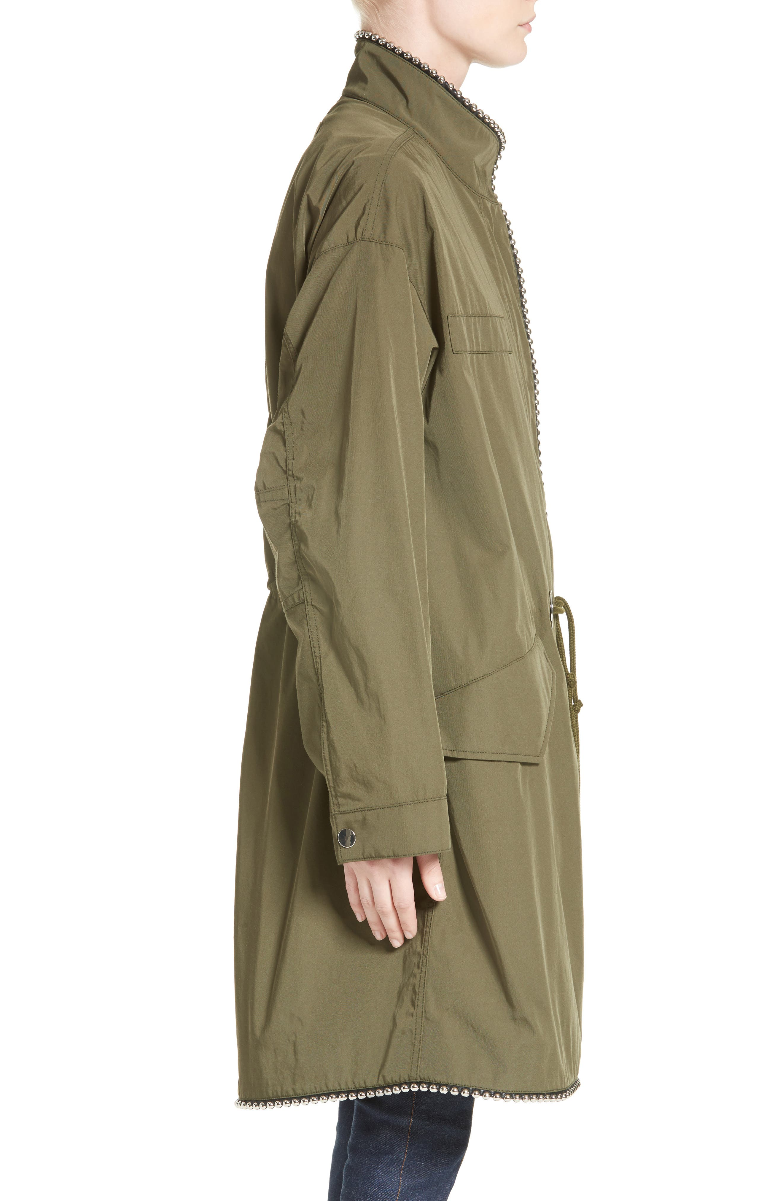 Chain Trim Twill Parka,                             Alternate thumbnail 3, color,                             300