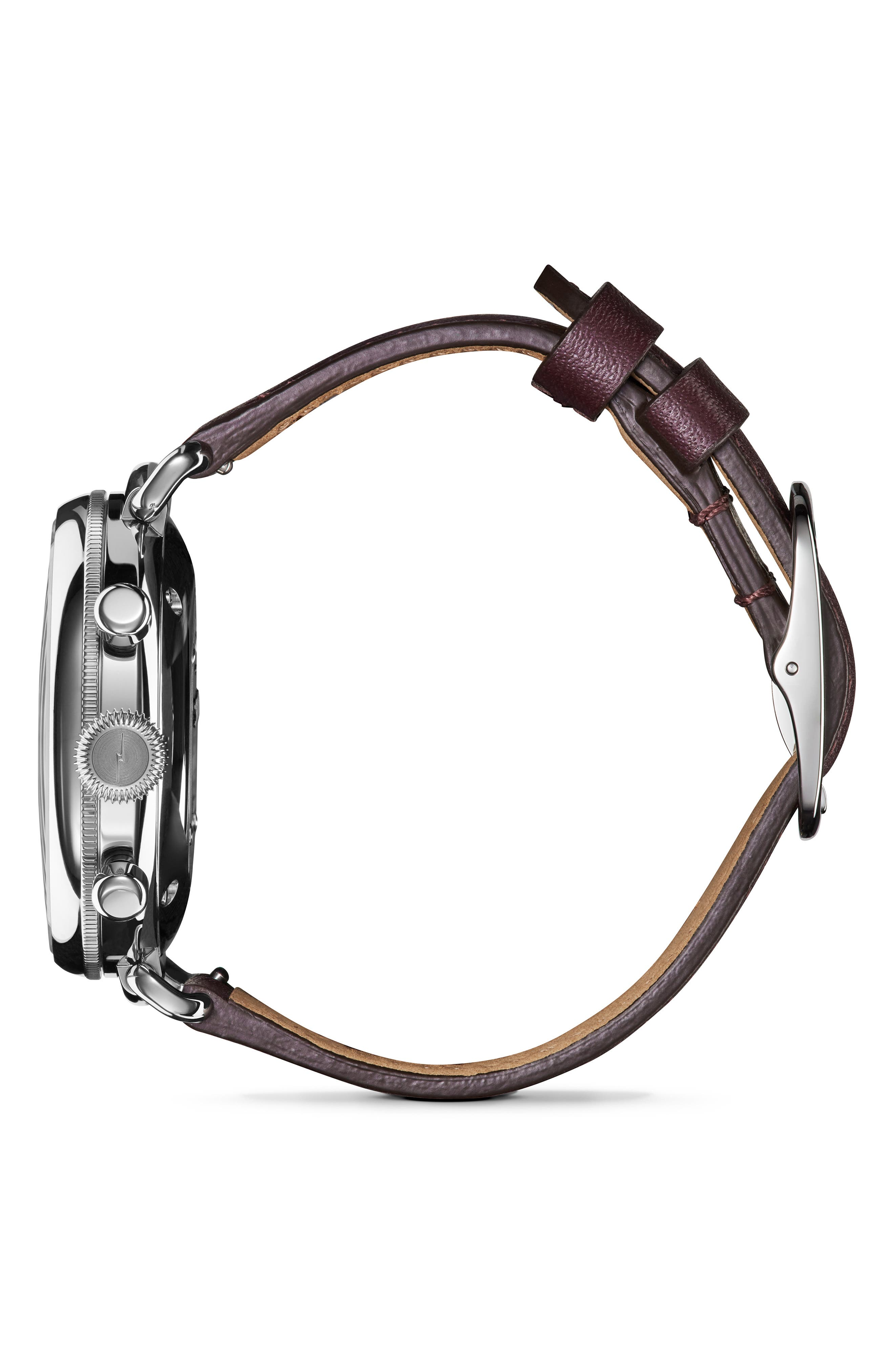 'The Canfield Chrono' Leather Strap Watch, 38mm,                             Alternate thumbnail 3, color,                             PURPLE/ PLUM MOP/ SILVER