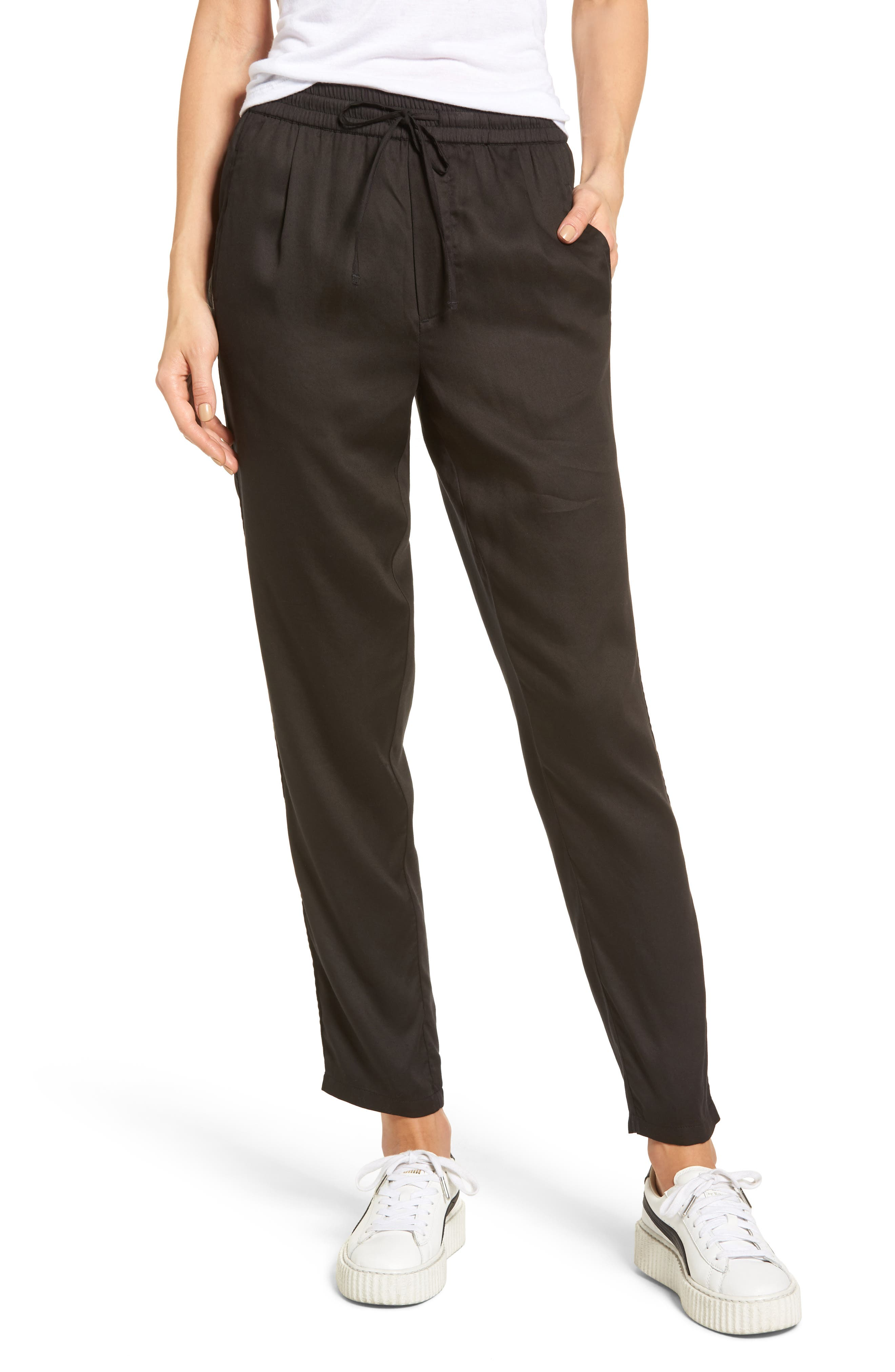 Savoy Satin Pants,                             Main thumbnail 1, color,                             001