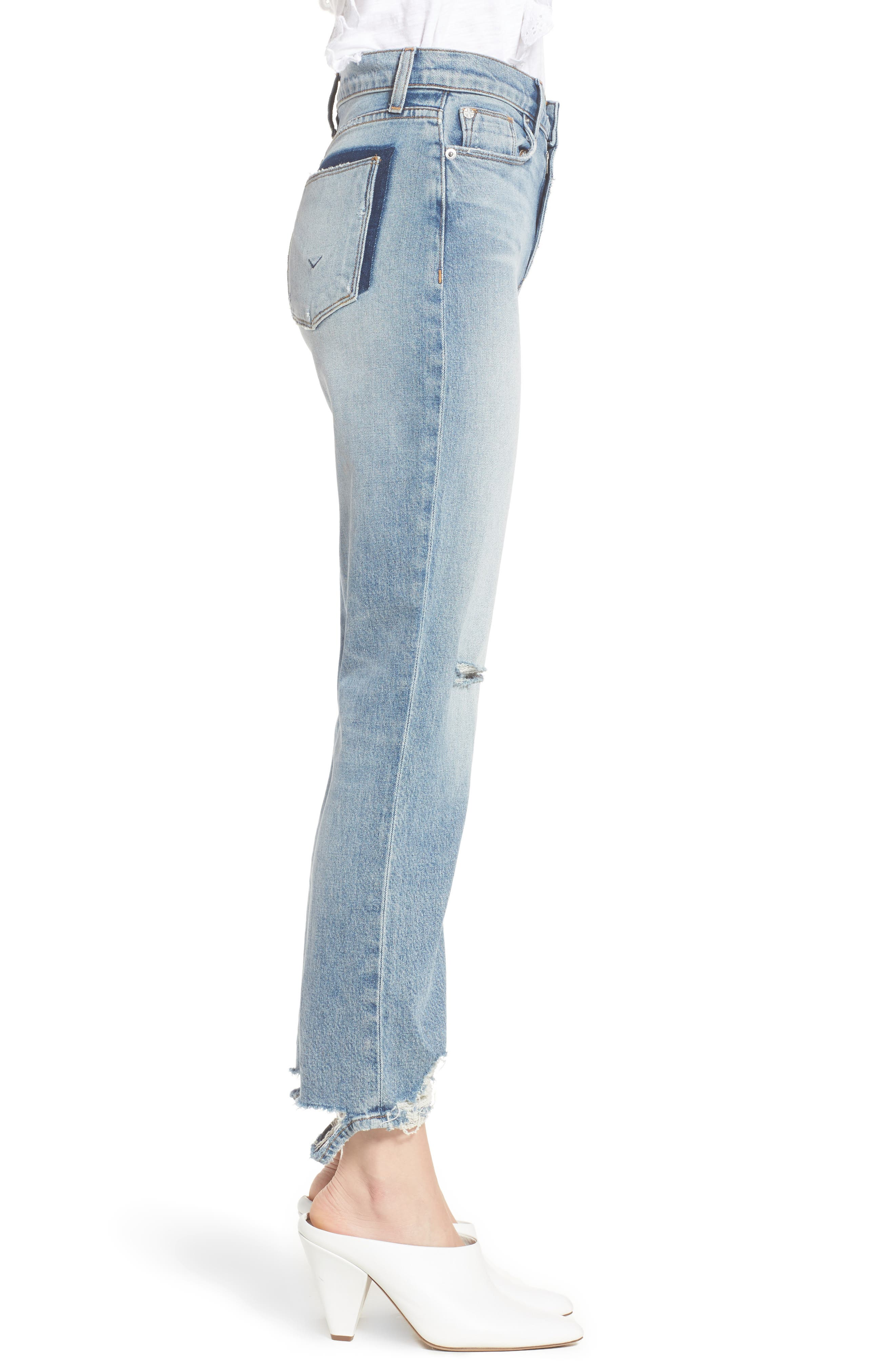 Zoeey High Waist Ankle Straight Leg Jeans,                             Alternate thumbnail 7, color,